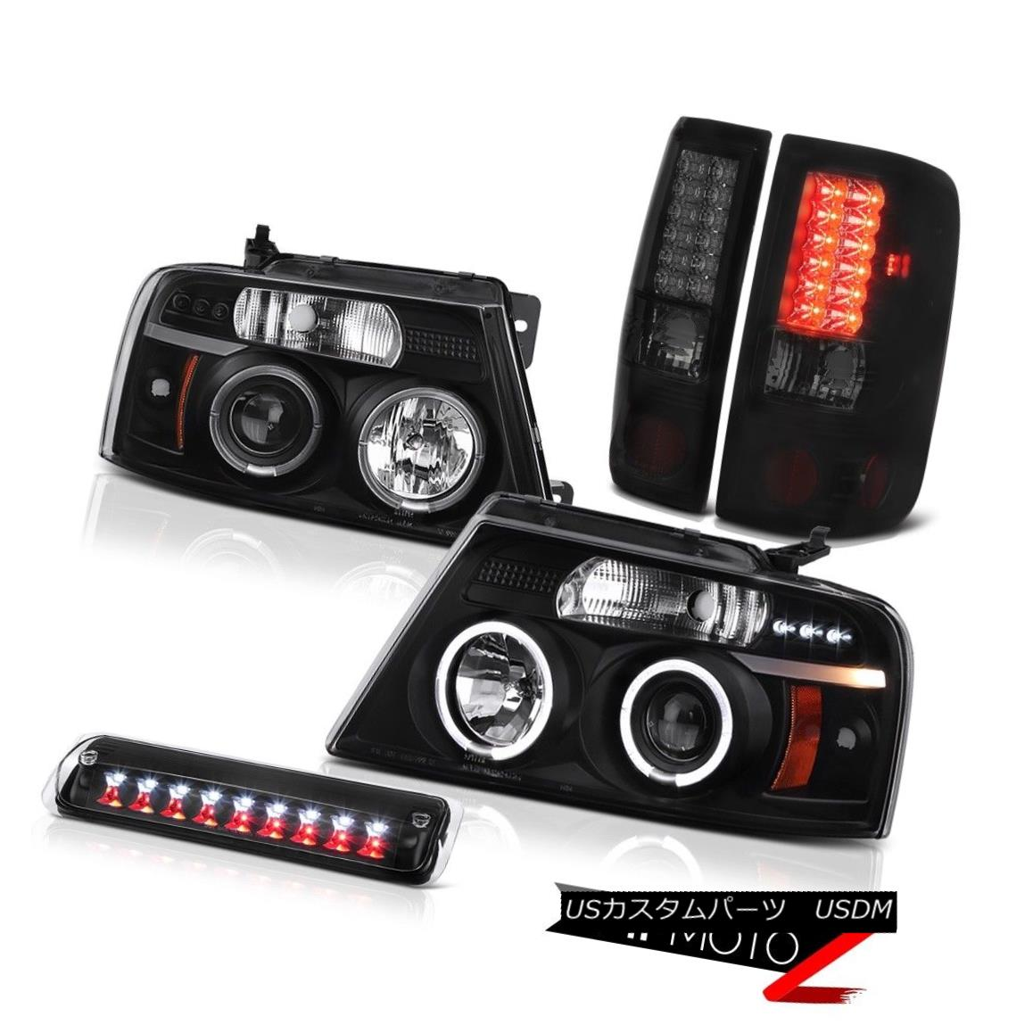 テールライト 04-08 Ford F150 FX4 Black 3RD Brake Light Headlights Rear Lamps LED Angel Eyes 04-08フォードF150 FX4ブラック3RDブレーキライトヘッドライトリアランプLEDエンジェルアイズ