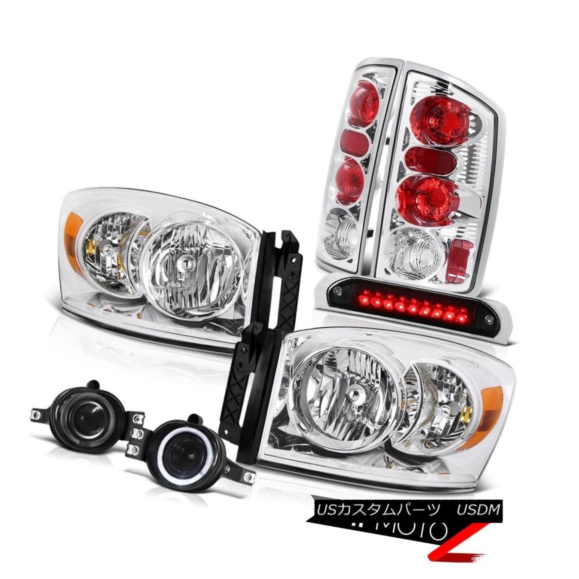 テールライト Chrome Headlights Rear Tail Lights Projector Foglamps LED Black 2006 Ram Hemi クロームヘッドライトリアテールライトプロジェクターフォグランプLEDブラック2006ラムヘミ