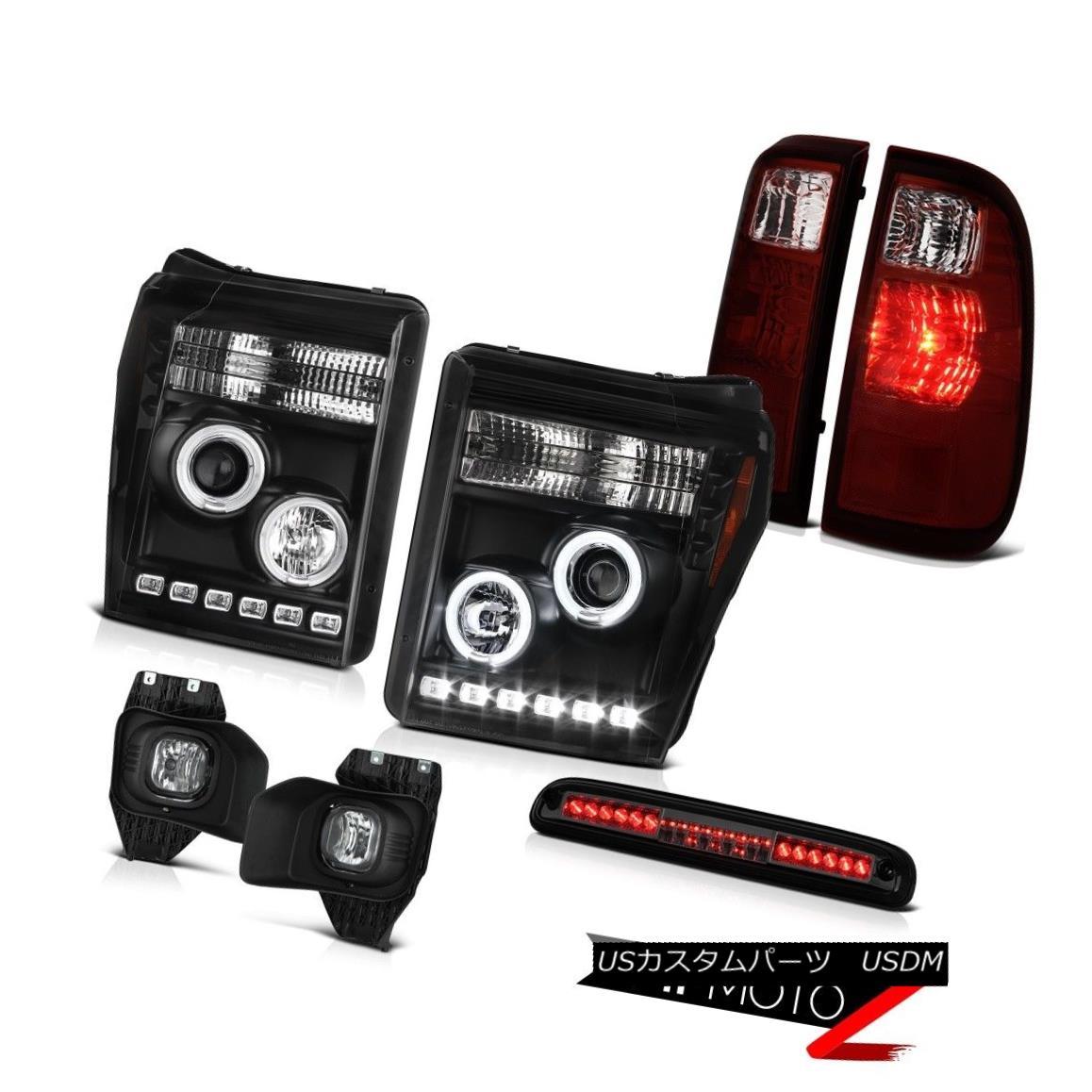テールライト 11-16 Ford F-250 High Stop Lamp Foglamps Red Smoke Rear Brake Lights Headlamps 11-16 Ford F-250ハイストップランプフォグランプレッドスモークリアブレーキライトヘッドランプ
