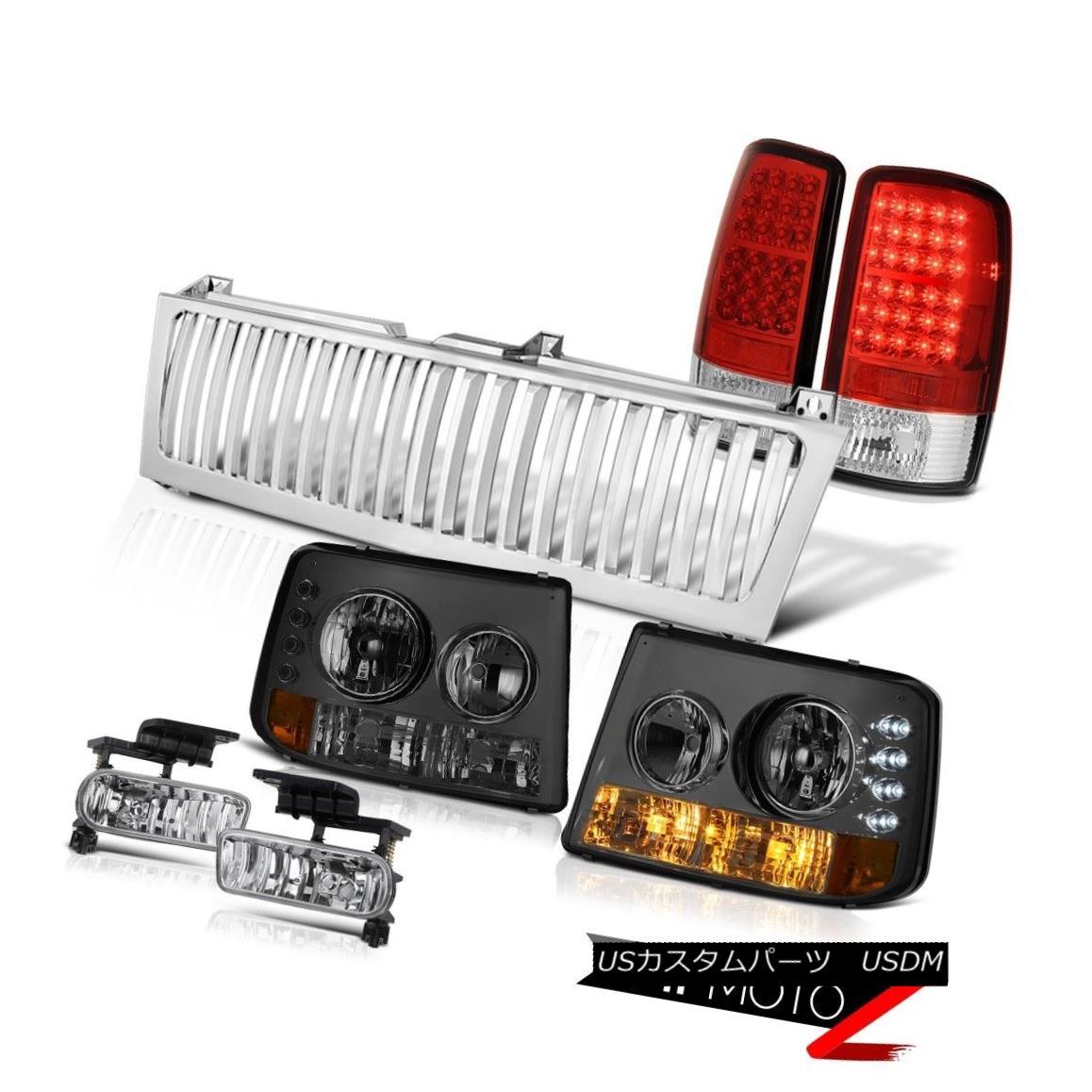 テールライト 00-2006 Suburban LT Smoke Headlights LED Taillight Red Driving Fog Chrome Grille 00-2006郊外LTの煙のヘッドライトLED葉っぱの赤いドライフォグクロムグリル