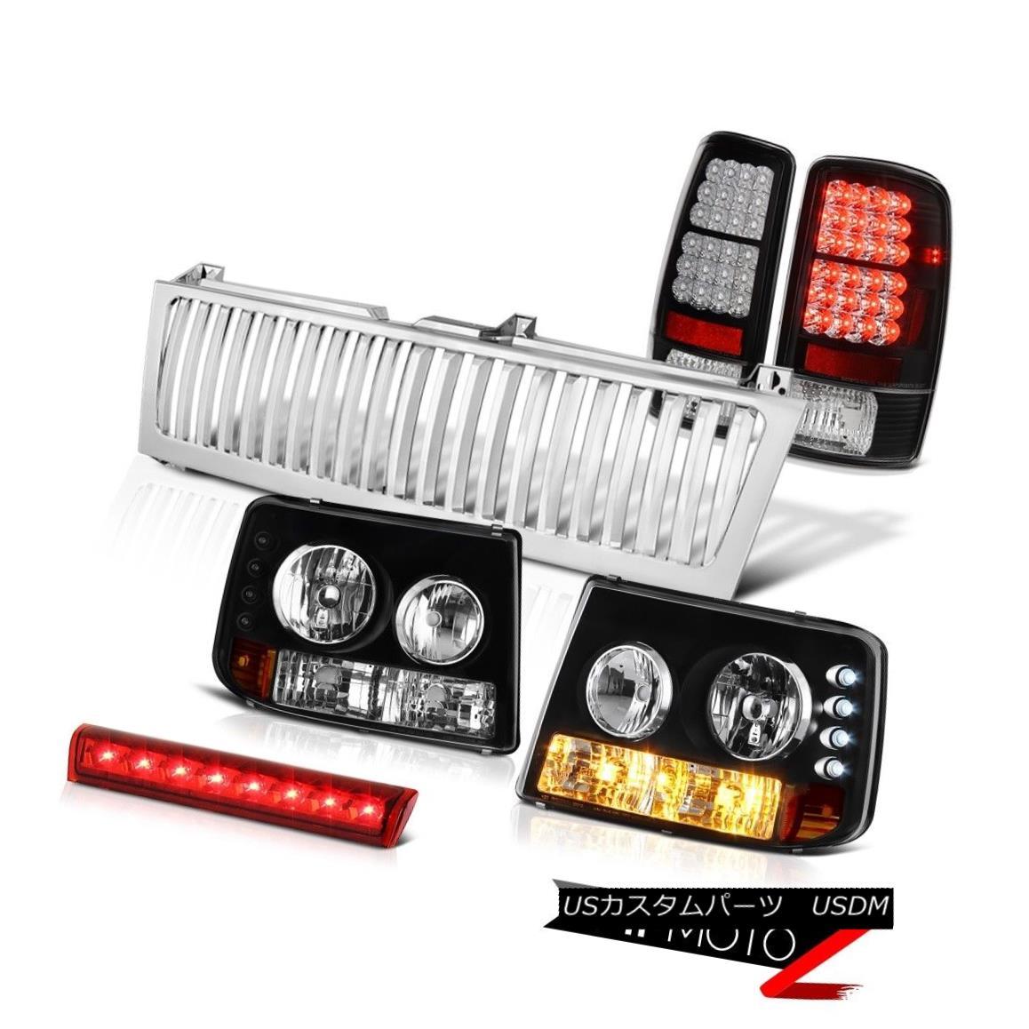 テールライト 00-06 Tahoe 4.8L Black Headlamps L.E.D Rear Lights Roof Brake LED Chrome Grille 00-06タホ4.8LブラックヘッドランプL.E.DリアライトルーフブレーキLEDクロームグリル