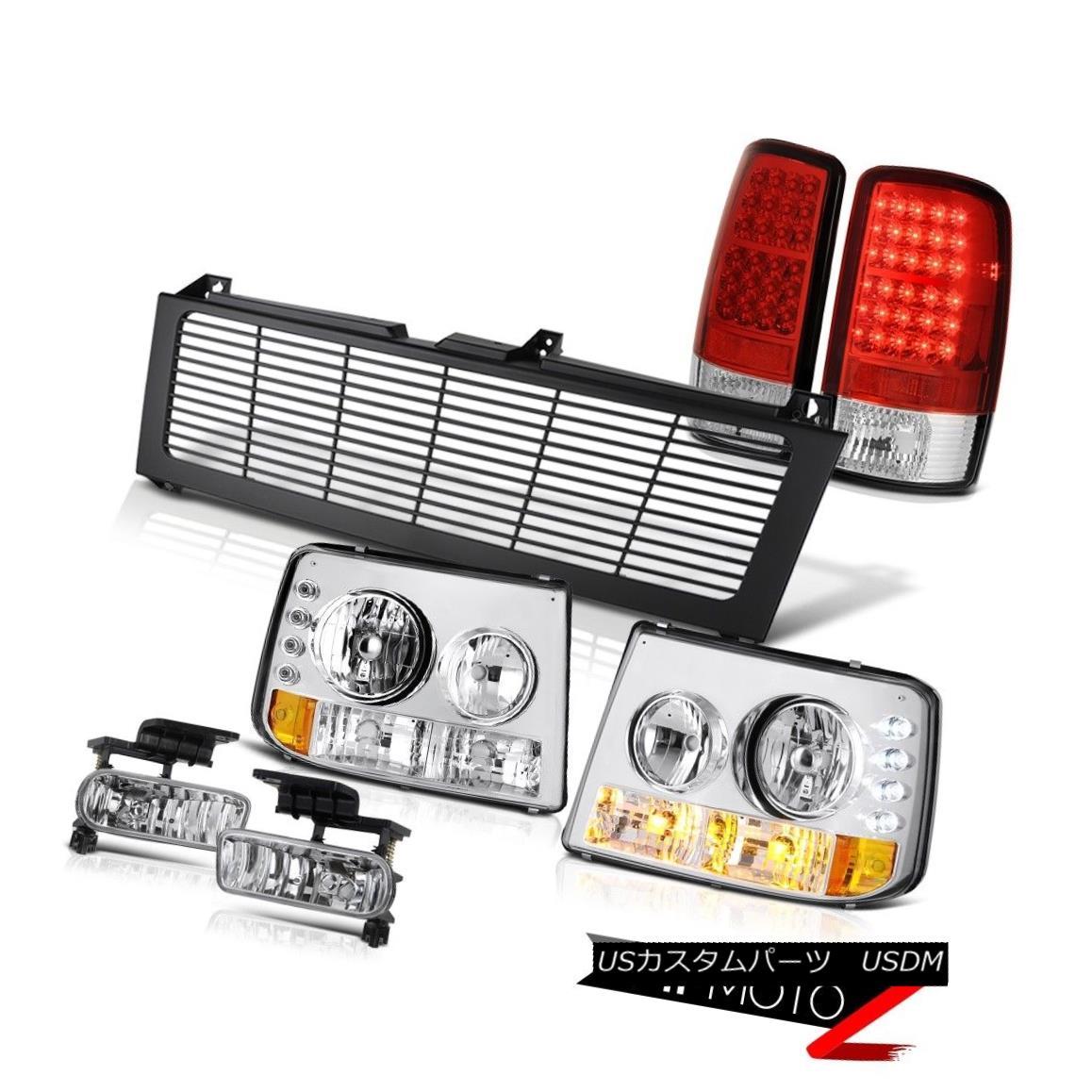 テールライト 2000-06 Suburban LS Crystal Bumper Headlight RED LED Tail Light Fog Black Grille 2000-06郊外のLSクリスタルバンパーヘッドライトRED LEDテールライトフォグブラックグリル