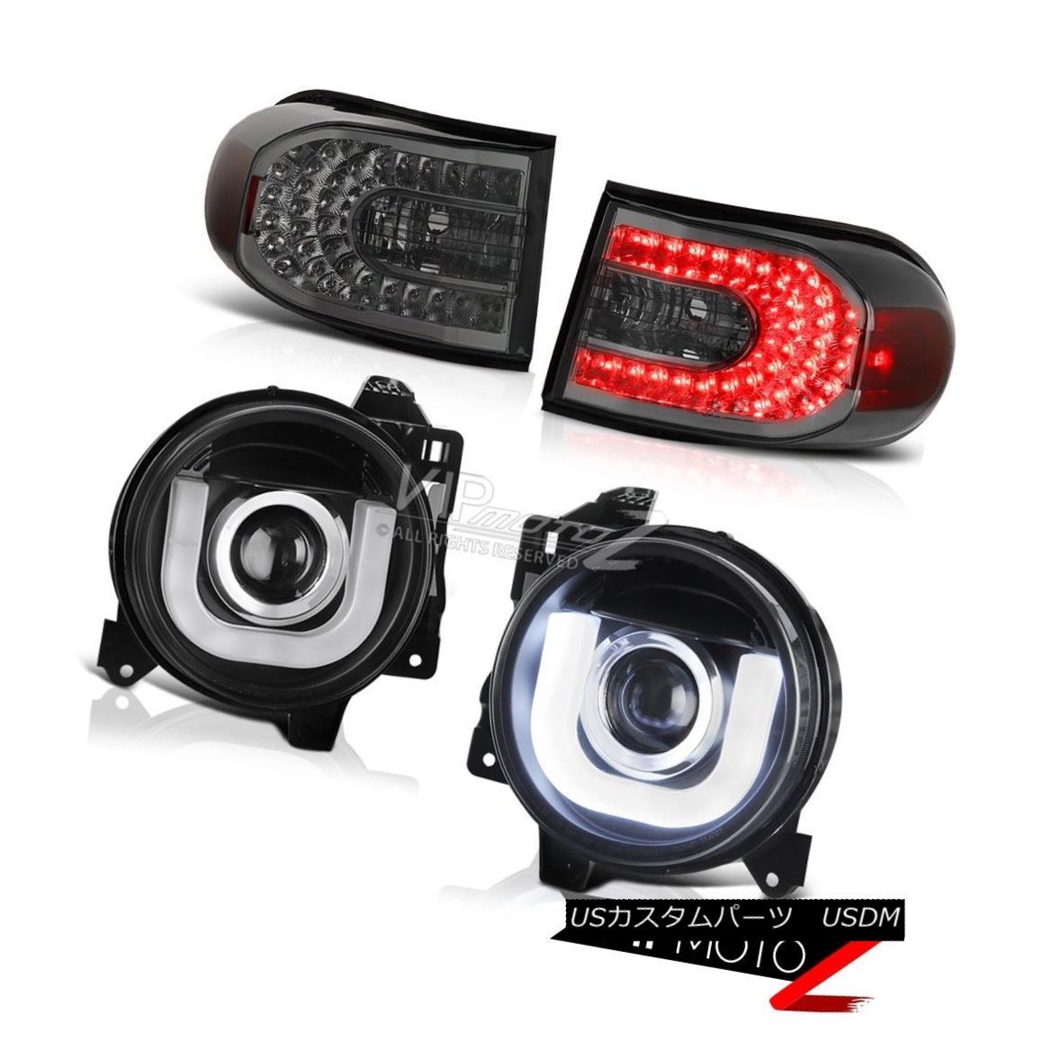 テールライト BLACK 07-14 Toyota FJ Cruiser U BAR Projector Headlights Smoke LED Tail Lights BLACK 07-14トヨタFJクルーザーU BARプロジェクターヘッドライトスモークLEDテールライト