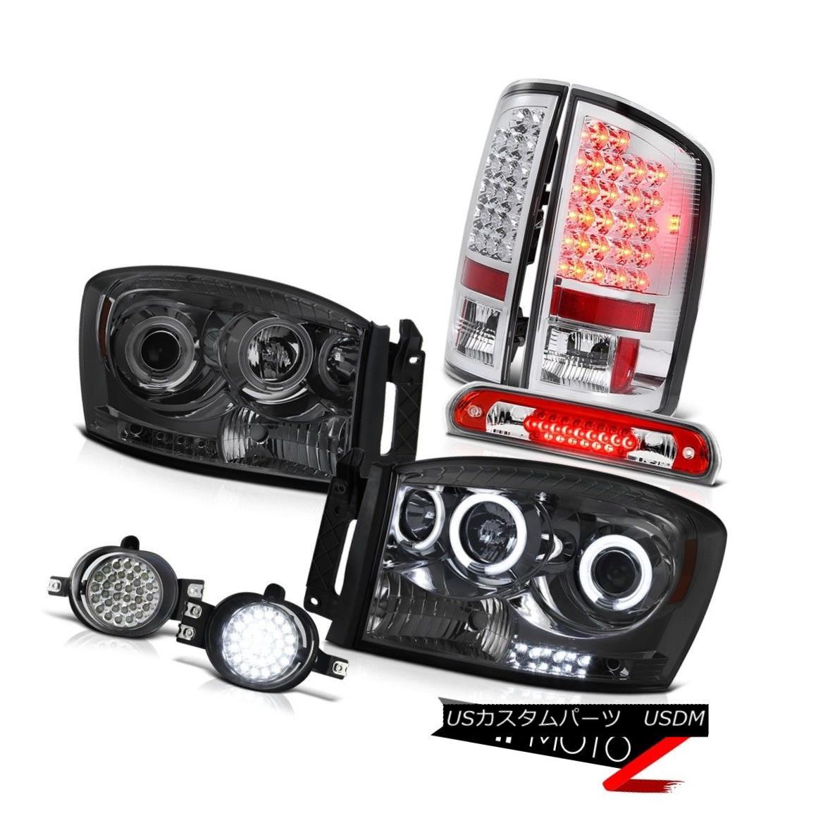 テールライト 07 08 Ram CCFL Angel Eye Headlamps SMD Tail Lights Fog Wine Red Third Brake LED 07 08 Ram CCFLエンジェルアイヘッドランプSMDテールライトフォグワインレッドThird Brake LED