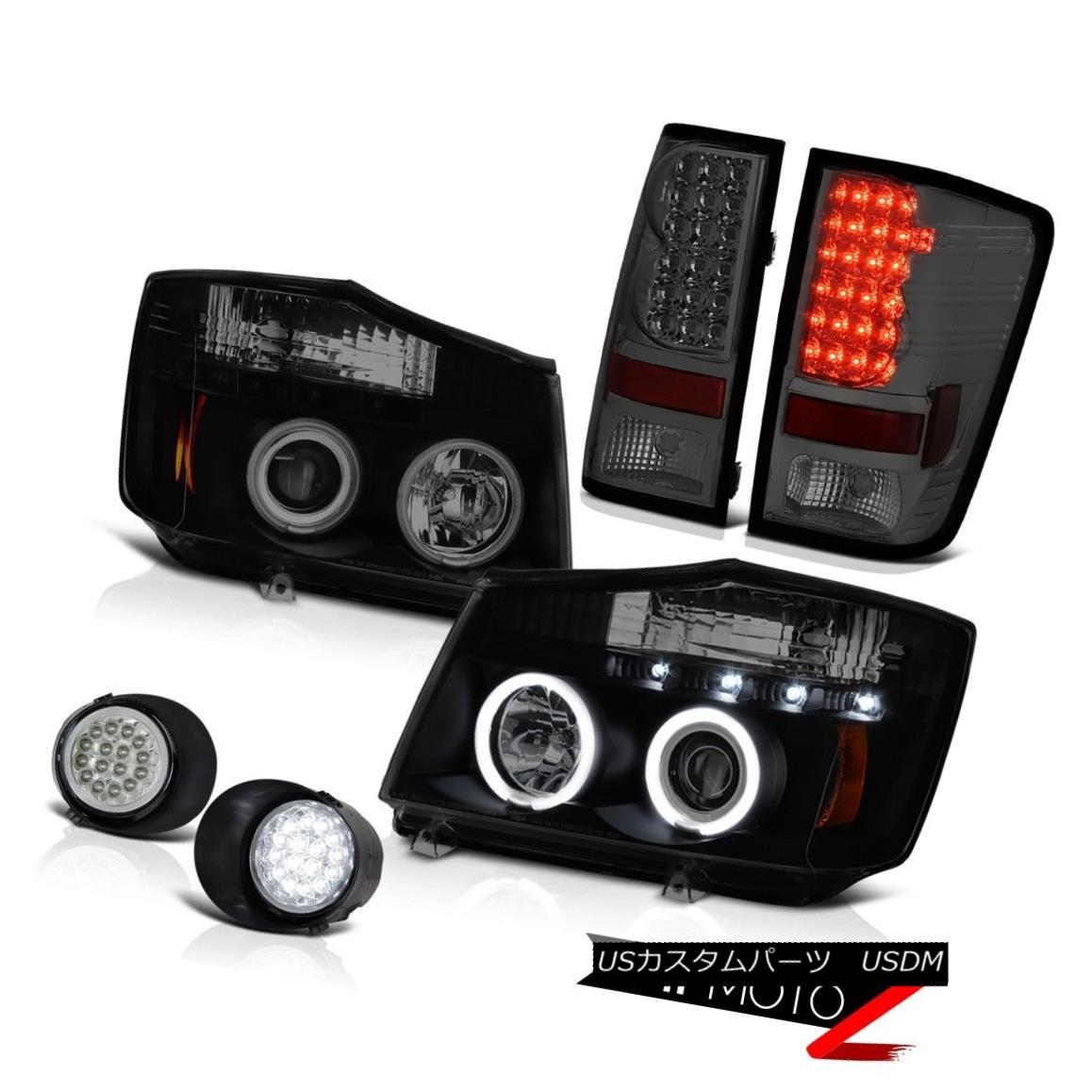テールライト For 2004-2015 Titan XE CCFL Halo Ring Headlight Smoke LED Tail Light Bumper Fog 2004年?2015年Titan XE CCFL HaloリングヘッドライトスモークLEDテールライトバンパーフォグ