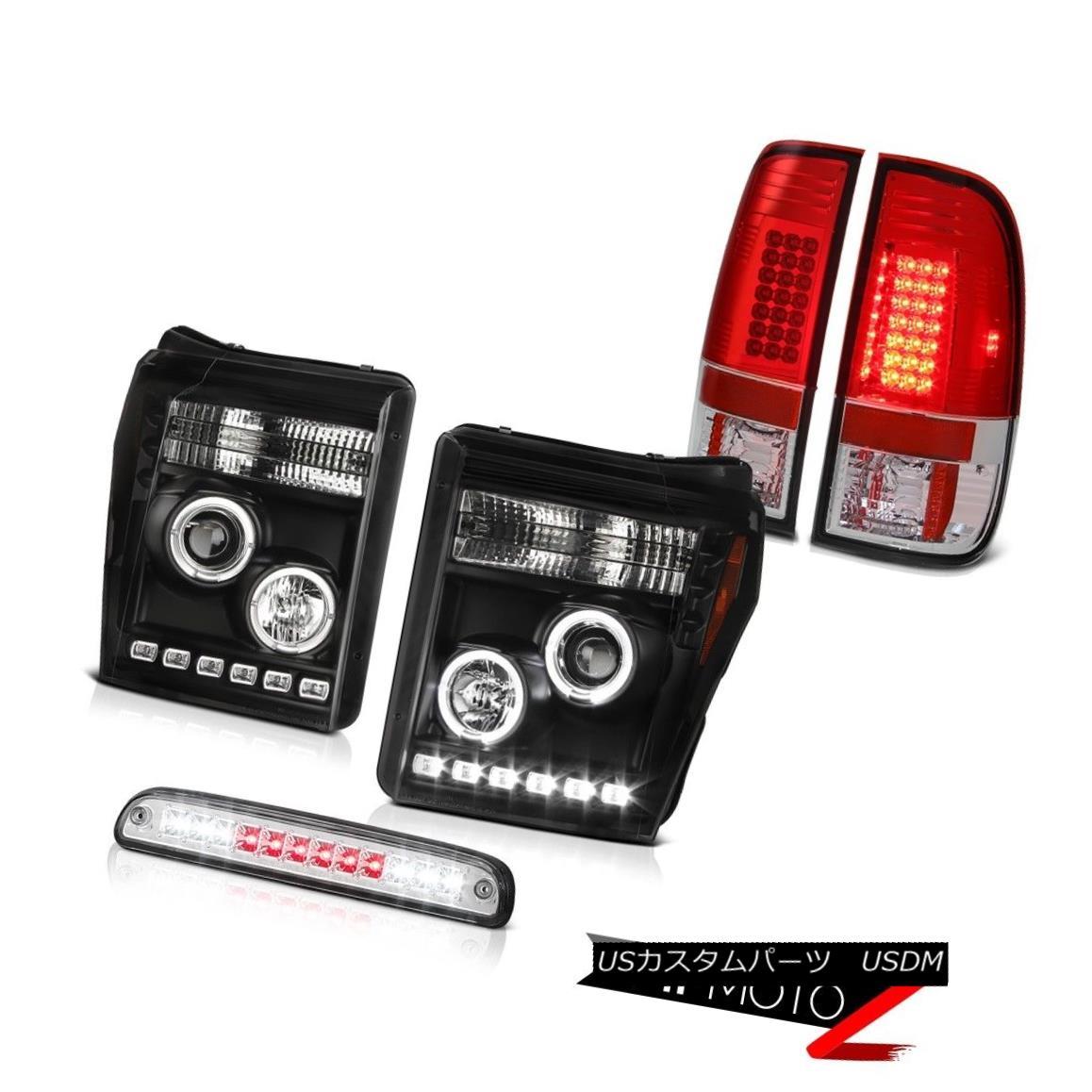 テールライト 11-16 F250 King Ranch Euro Chrome Third Brake Lamp Red Rear Lights Headlights 11-16 F250キングランチユーロクロム第3ブレーキランプレッドリアライトヘッドライト