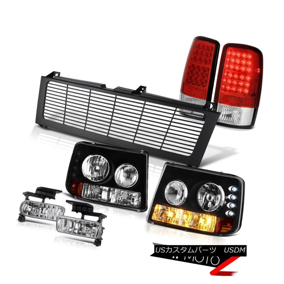 テールライト 00-06 Suburban 5.7L Bumper+Headlamps Red LED Tail Lights Euro Fog Black Grille 00-06郊外5.7Lバンパー+ヘッドラム ps赤色LEDテールライトユーロフォグブラックグリル