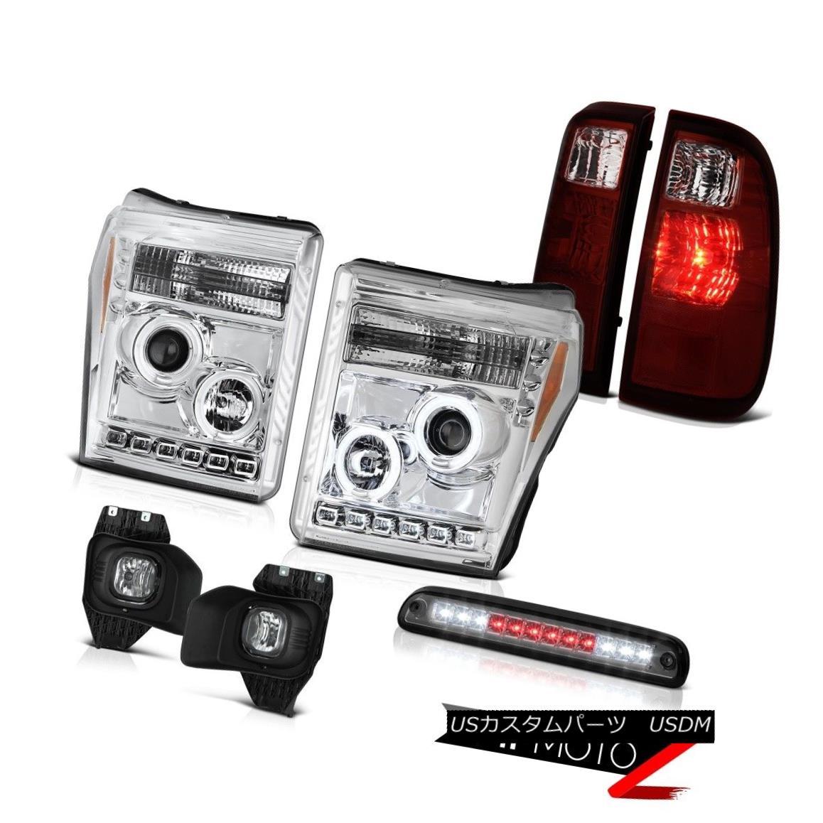 テールライト 2011-2016 F350 6.2L Smokey Roof Cab Light Fog Lights Red Rear Brake Headlamps 2011-2016 F350 6.2Lスモーキールーフキャブライトフォグライトレッドリアブレーキヘッドランプ