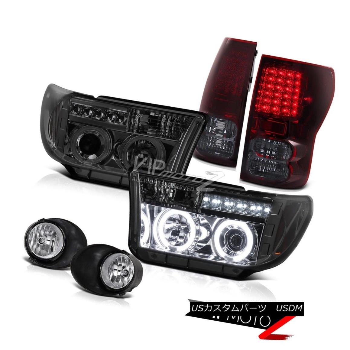 テールライト L+R Smoke CCFL Projector Headlight+Led Tail Light+Clear Fog Lamp 07-13 Tundra L + R煙CCFLプロジェクターヘッドライト+ Ledテールライト+クリアフォグランプ07-13 Tundra