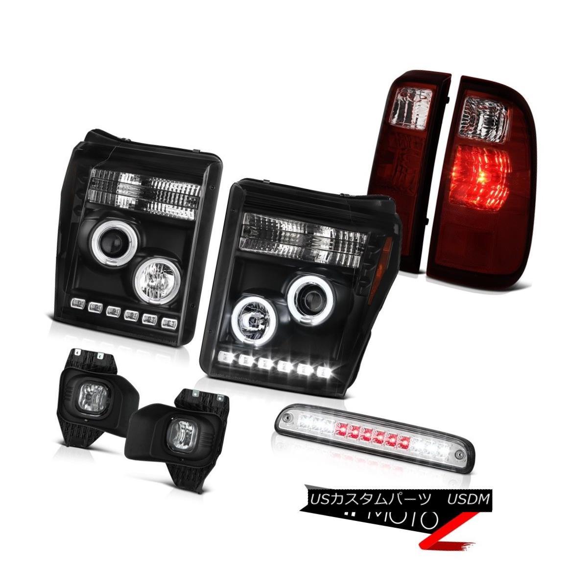 テールライト 2011-2016 F350 Turobdiesel 3RD Brake Light Fog Lamps Smokey Red Tail Headlamps 2011-2016 F350ターボディーゼル3RDブレーキライトフォグランプスモークテールヘッドランプ