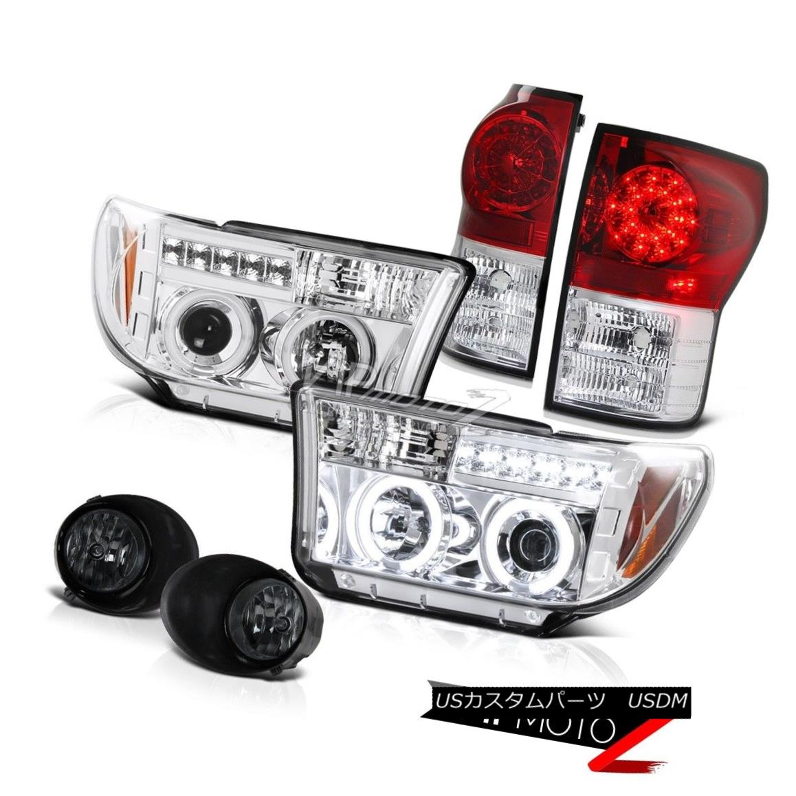 テールライト 07-13 Toyota Tundra CCFL Halo Projector Headlight+Led Tail Light+Smoke Fog Lamp 07-13 Toyota Tundra CCFL Haloプロジェクターヘッドライト+ Ledテールライト+スモークフォグランプ