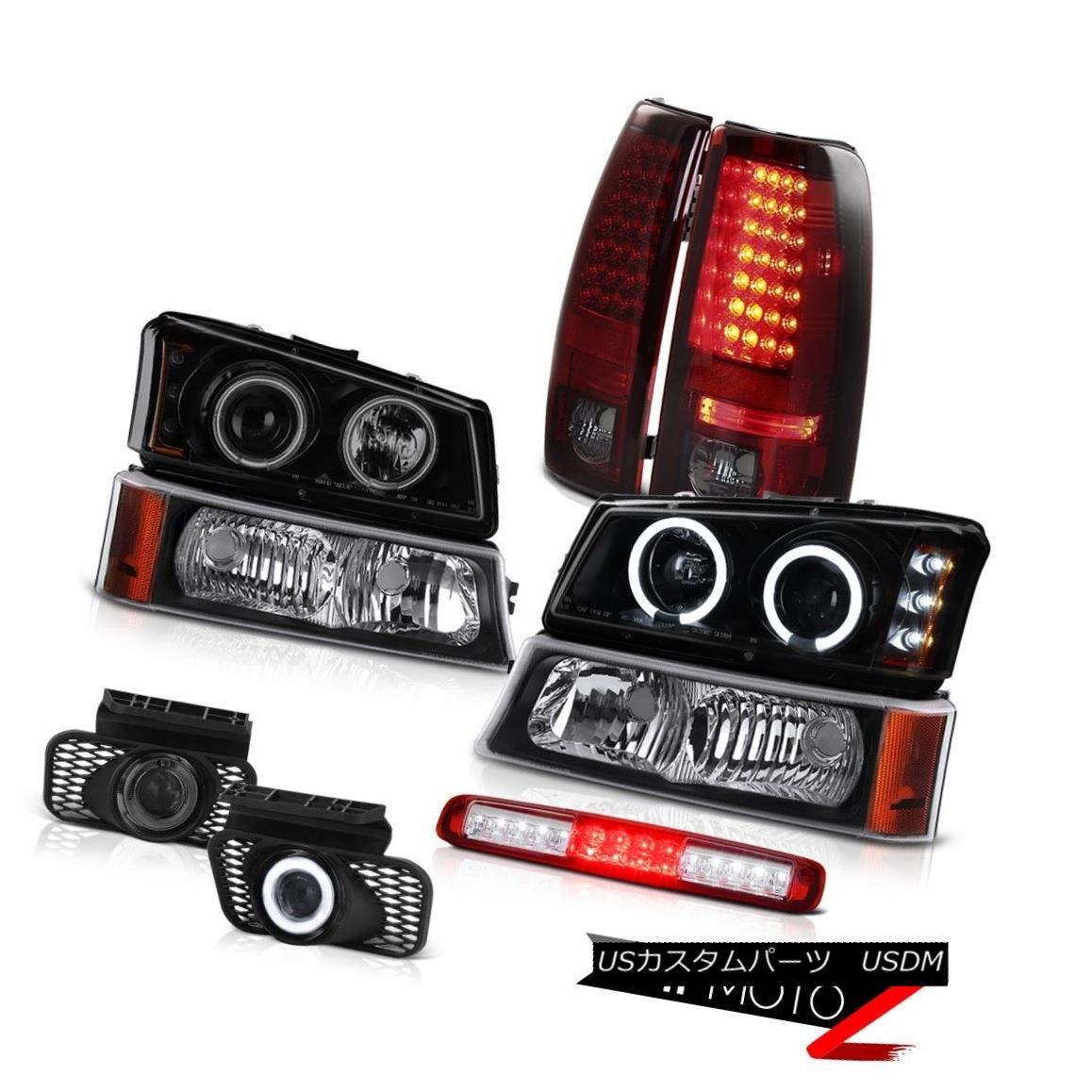 テールライト 03-06 Silverado Black Parking Light Third Brake Fog Lamps Headlamps Tail Lights 03-06シルバラードブラックパーキングライトサードブレーキフォグランプヘッドランプテールライト