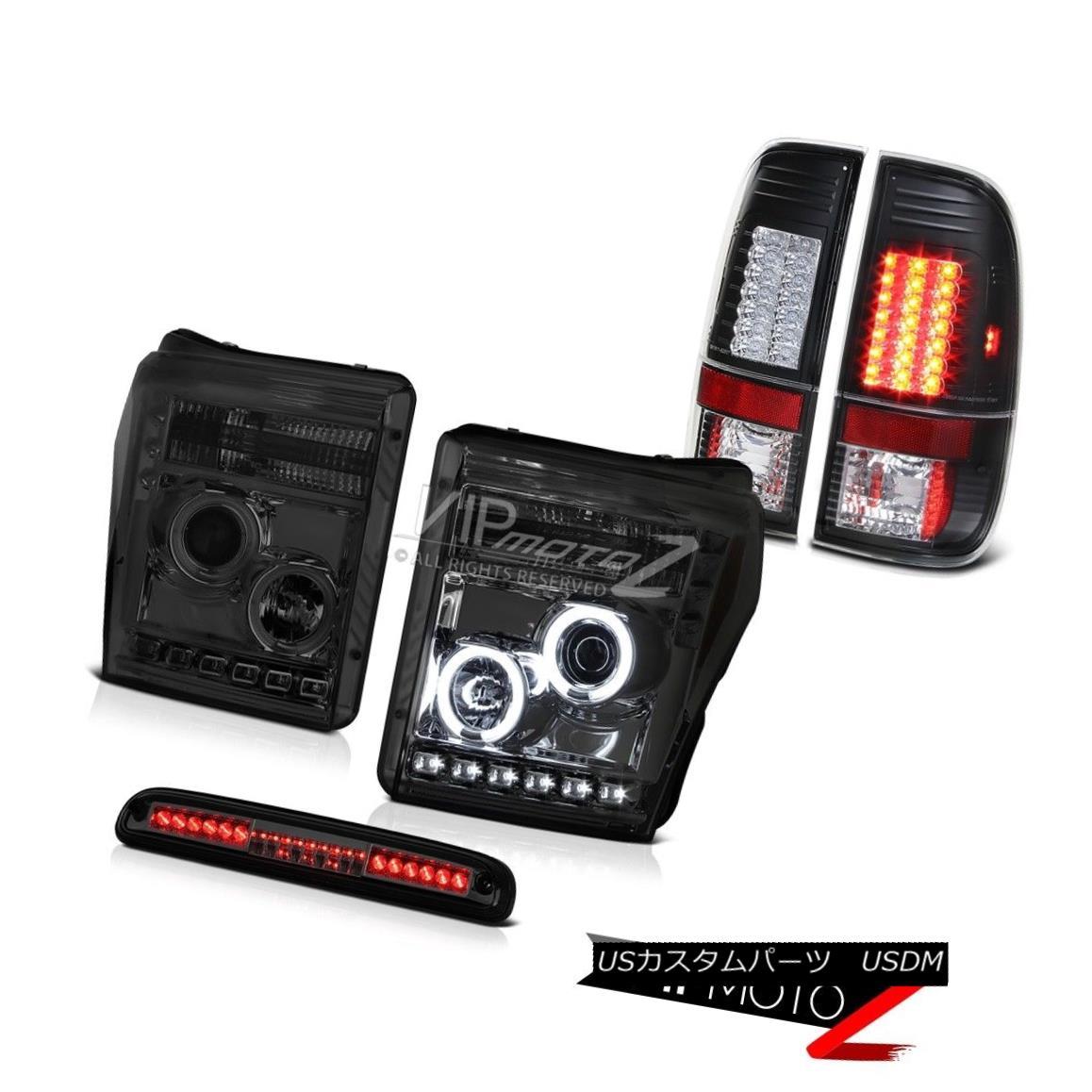 テールライト 2011-2016 F250 Xlt Smoked Third Brake Light Parking Lights Projector Headlights 2011-2016 F250 Xltスモークサードブレーキライトパーキングライトプロジェクターヘッドライト