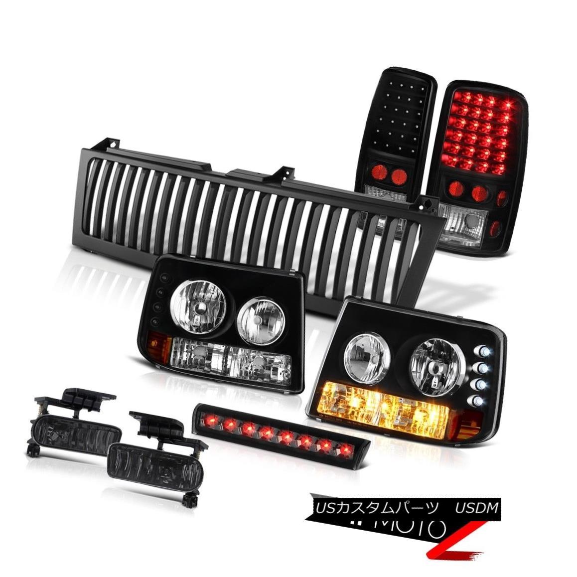 テールライト 2000-06 Suburban 6.0L Headlights Bright LED Tail Lights Tinted Fog Stop Black 2000-06郊外用6.0Lヘッドライト明るいLEDテールライトティンテッドフォグストップブラック