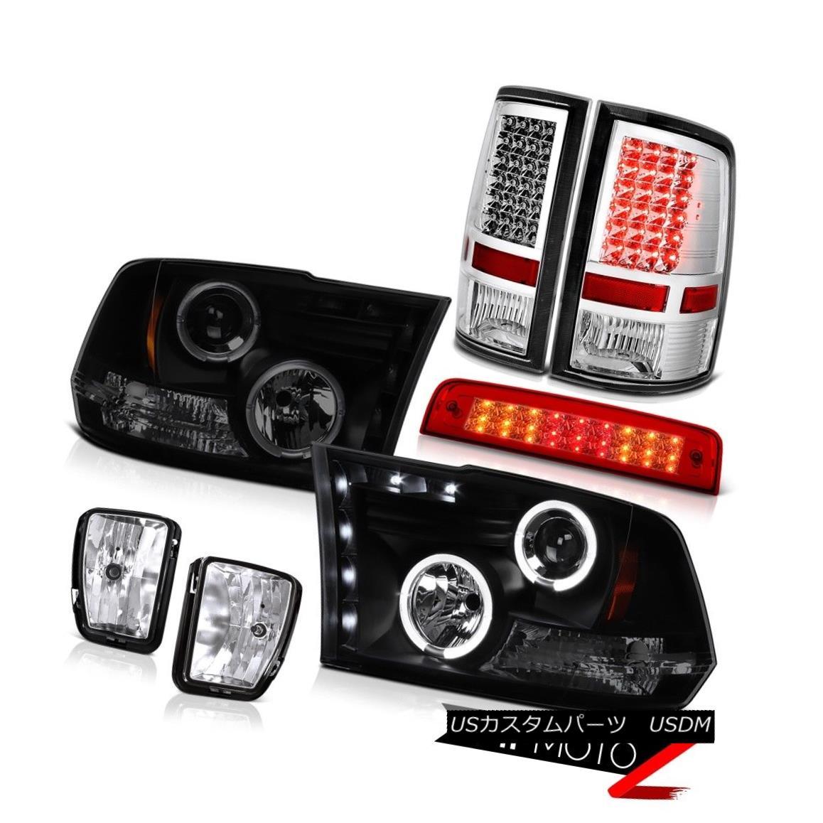 テールライト 2013-2018 Ram 1500 SLT Red Roof Brake Lamp Fog Lamps Rear Headlights Dual Halo 2013-2018ラム1500 SLTレッドルーフブレーキランプフォグランプリアヘッドライトデュアルヘイロー