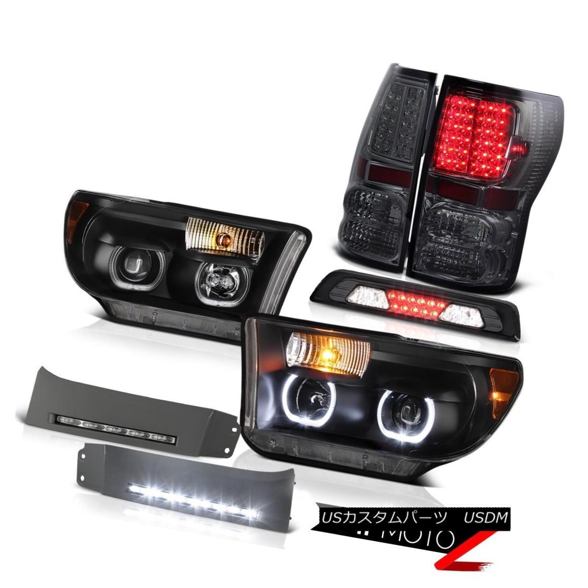 テールライト 07-13 Toyota Tundra SR5 Headlamps DRL Strip High Stop Light Taillamps Dual Halo 07-13トヨタ・トンドラSR5ヘッドランプDRLストリップハイストップライト・タイルランプデュアル・ヘイロー