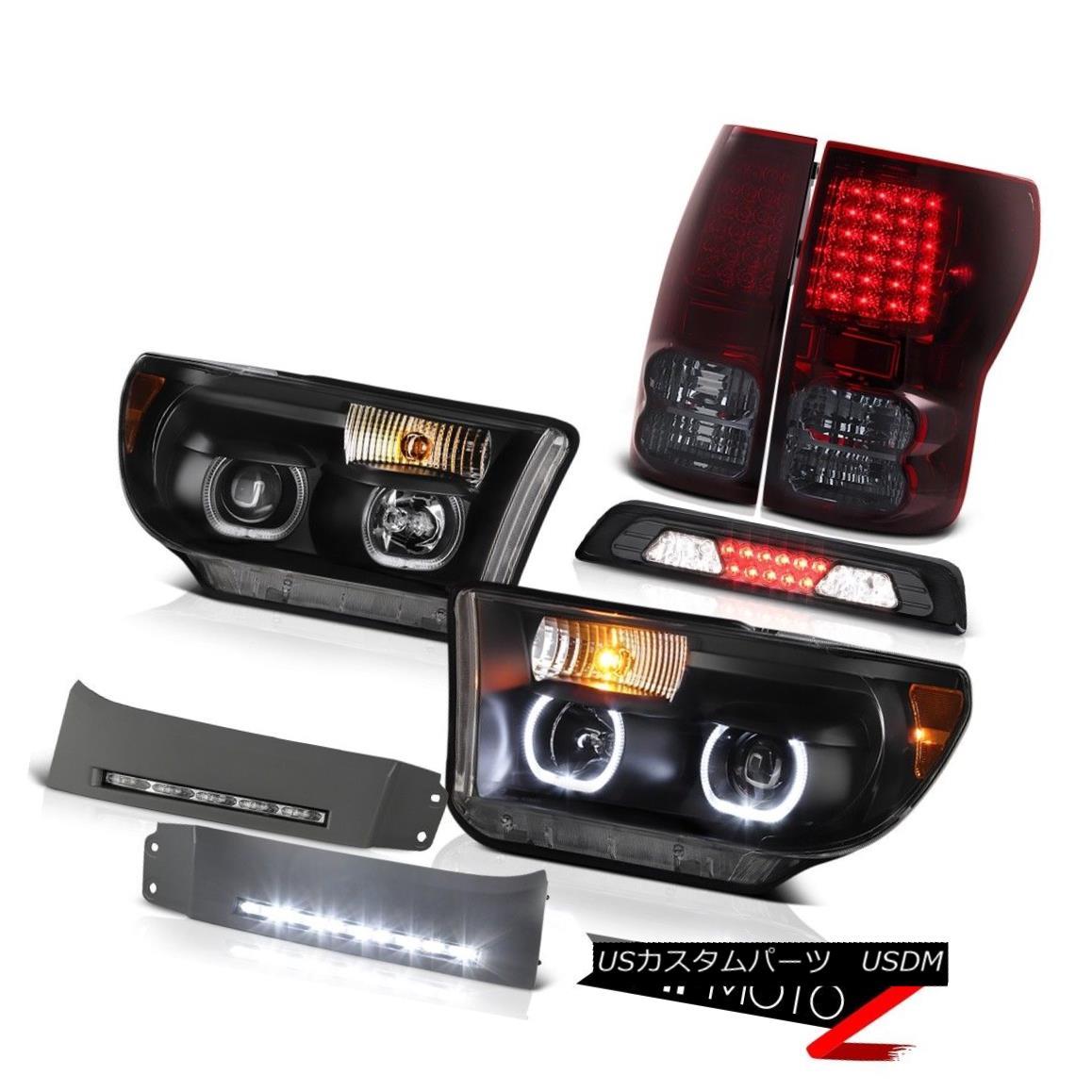 テールライト 07-13 Toyota Tundra SR5 Headlamps DRL Strip 3RD Brake Light Taillamps Halo Ring 07-13トヨタツンドラSR5ヘッドランプDRLストリップ3RDブレーキライトタイヤランプハローリング
