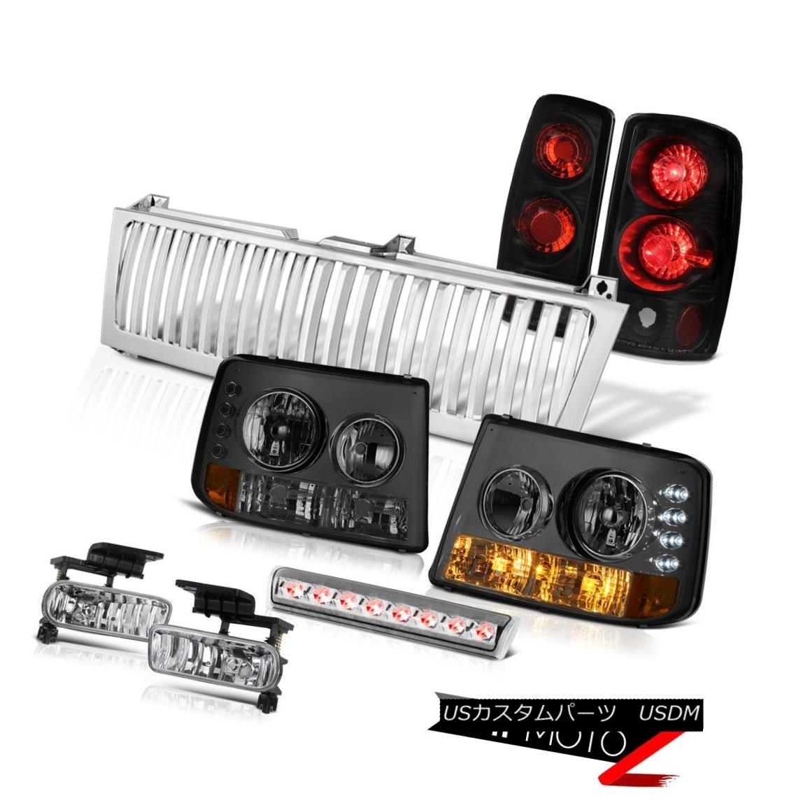 テールライト 00-06 Chevy Tahoe Smoke Headlights Tail Brake Lights Euro Fog LED Chrome Grille 00-06 Chevy TahoeスモークヘッドライトテールブレーキライトEuro Fog LED Chrome Grille