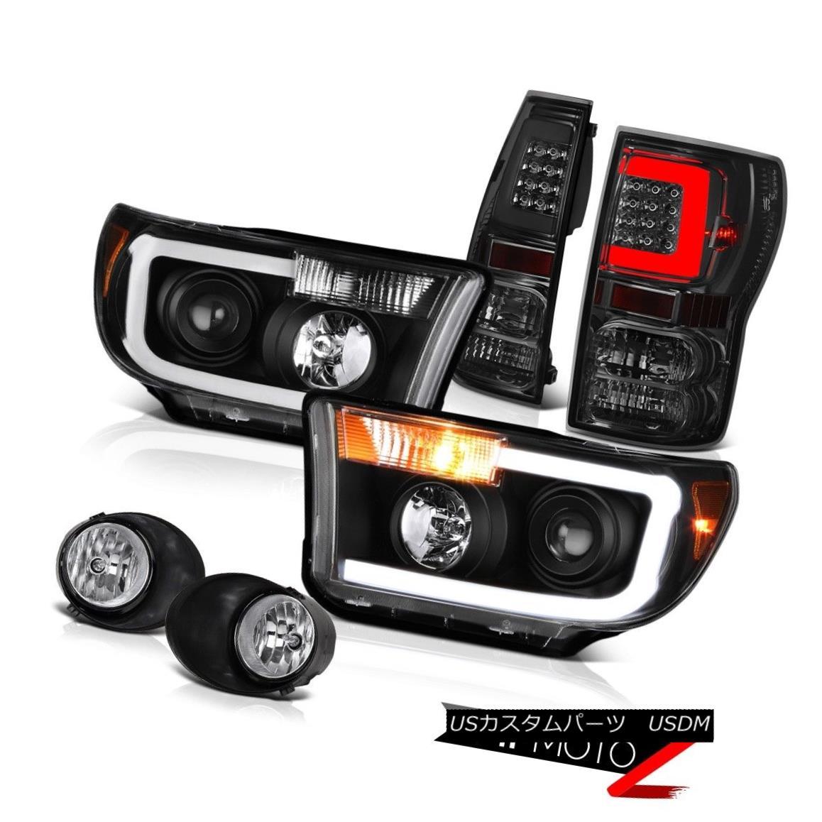 テールライト 07-13 Toyota Tundra Titanium Smoke Rear Projector Head Lights Clear Chrome Spot 07-13トヨタトンドラチタンスモークリアプロジェクターヘッドライトクリアクロムスポット