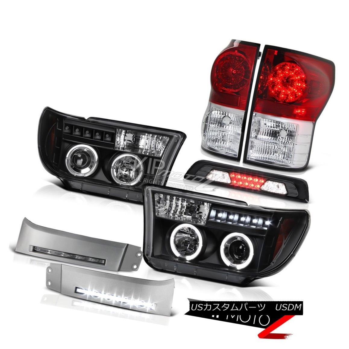 テールライト 07-13 Toyota Tundra SR5 Bumper DRL Smoked High Stop Light Headlights Taillamps 07-13トヨタ・トンドラSR5バンパーDRLスモーク・ハイ・ストップ・ライト・ヘッドライト・トライアングル
