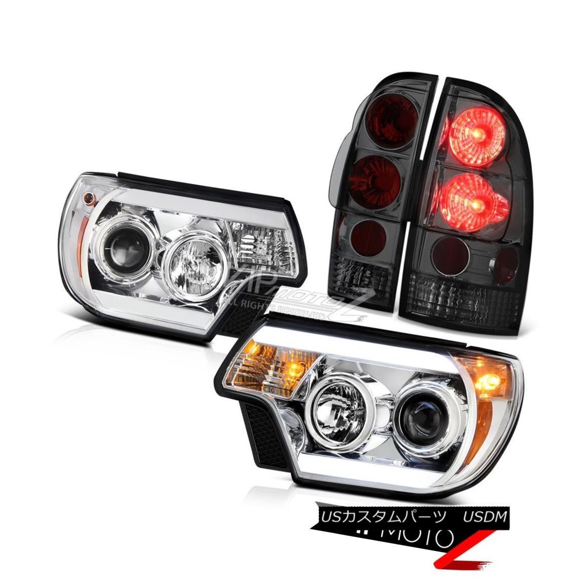 テールライト 12-15 Toyota Tacoma TRD Pro Headlights smokey tail lamps Light Bar Tron Style 12-15トヨタタコマTRDプロヘッドライトスモーテールランプライトバートロンスタイル