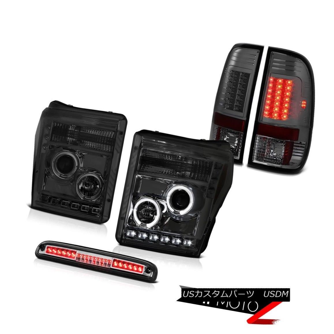 テールライト 11-16 F350 Xlt Third Brake Lamp Smokey Parking Lights Headlights SMD Halo Ring 11-16 F350 Xlt第3ブレーキランプスモーキーパーキングライトヘッドライトSMDハローリング