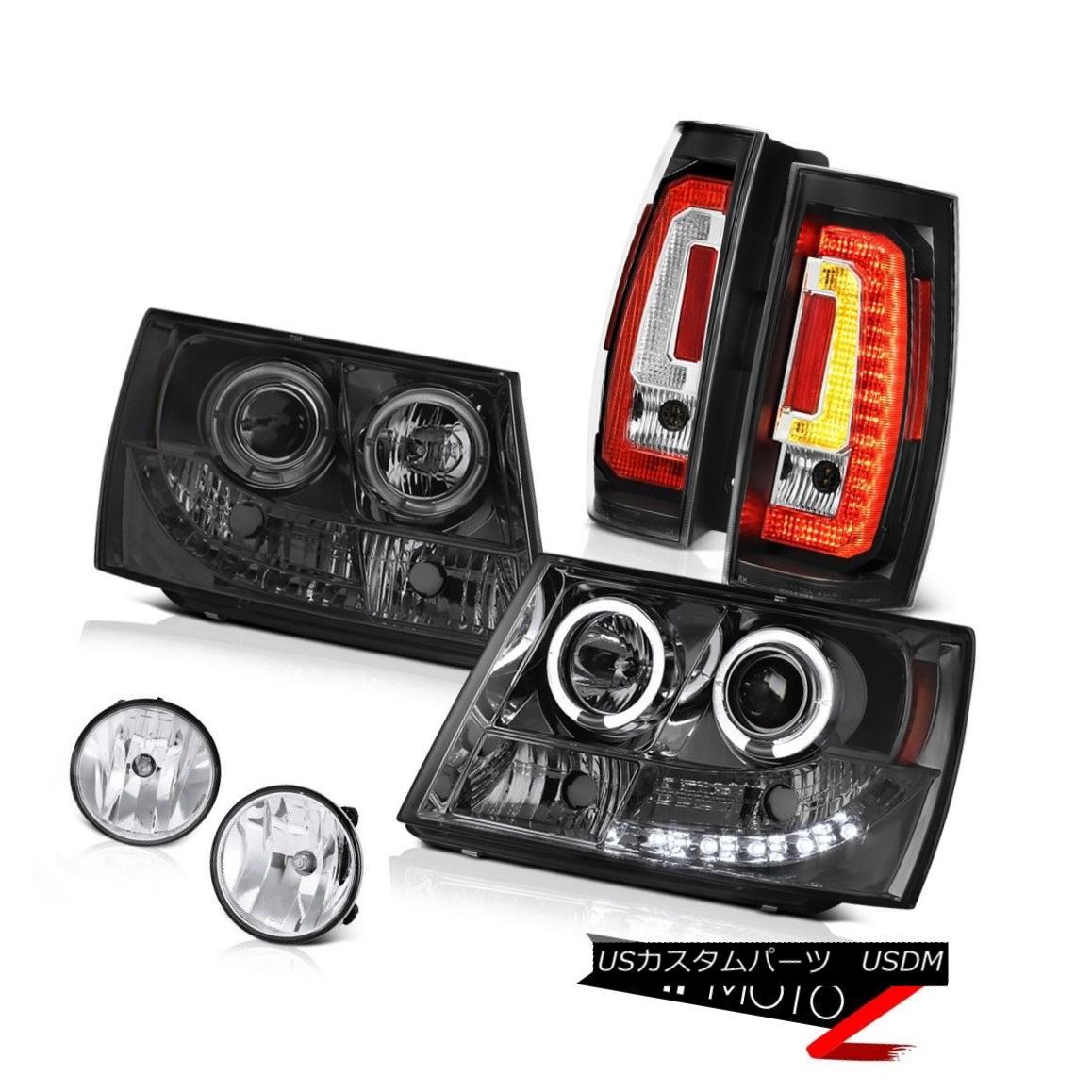 テールライト 07-14 Chevy Suburban Phantom Smoke Projector Head Lamps Raven Black Rear Fog L+R 07-14シボレー郊外ファントム煙プロジェクターヘッドランプレイブンブラックリアフォグL + R