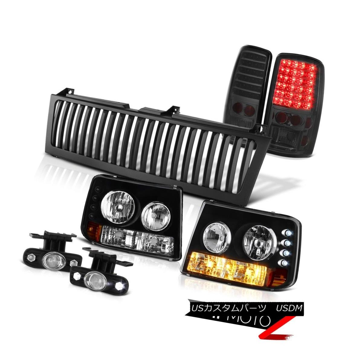 テールライト 00-06 Suburban Headlamps Smoke LED Taillights Projector Chrome Fog Black Grille 00-06郊外ヘッドランプ煙LEDテールライトプロジェクターChrome Fog Black Grille