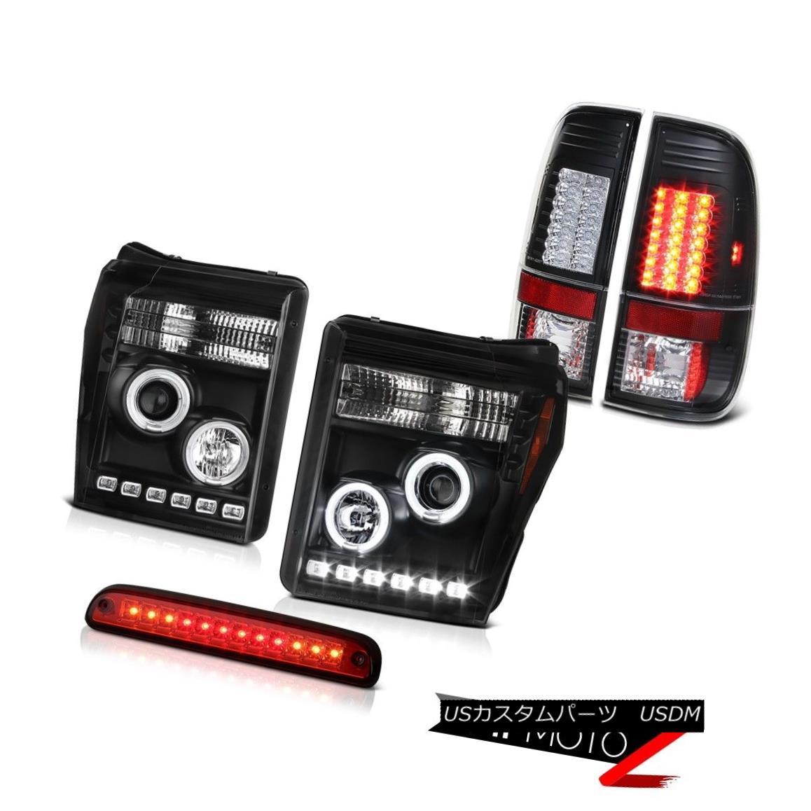 テールライト 11-16 F350 Turobdiesel Red High Stop Lamp Black Taillights Projector Headlamps 11-16 F350ターボディーゼルレッドハイストップランプブラックテールライトプロジェクターヘッドランプ