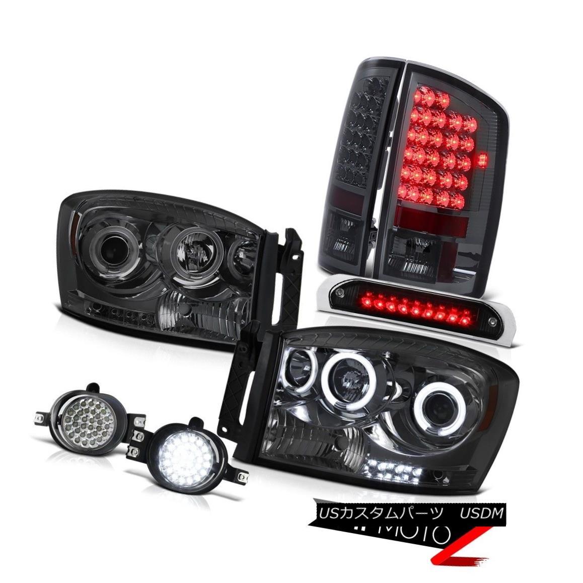 テールライト 07 08 Ram CCFL Headlights LED Brake Lamps Daytime Running Fog Roof Stop Black 07 08 Ram CCFLヘッドライトLEDブレーキランプデイタイムランニングフォグルーフストップブラック