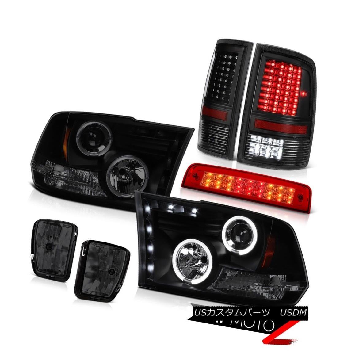 テールライト 13-18 Ram 1500 RT Red Roof Brake Light Fog Lamps Taillamps Headlights Dual Halo 13-18ラム1500 RTレッドルーフブレーキライトフォグランプタイルランプヘッドライトデュアルヘイロー