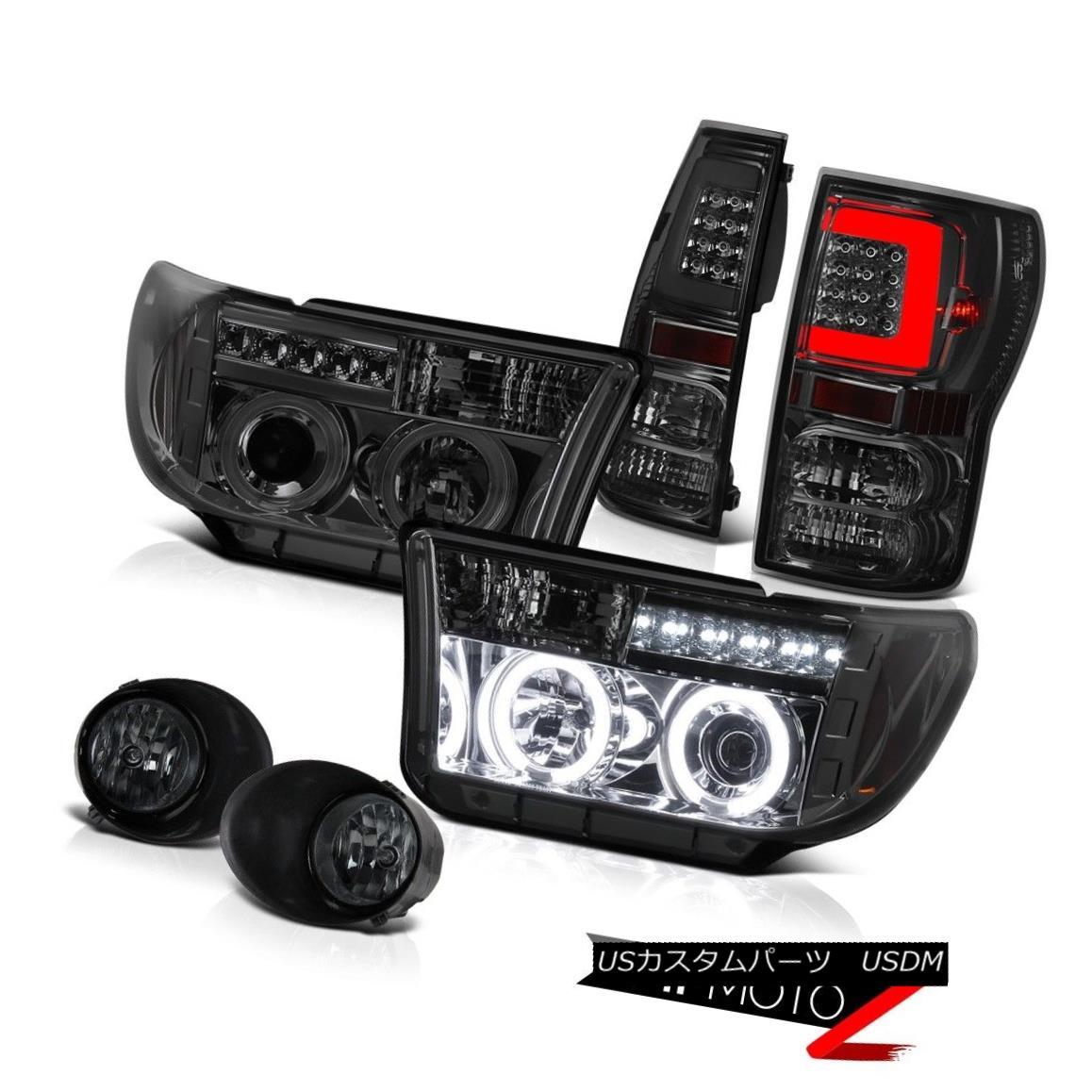 テールライト 07-10 11 12 13 Toyota Tundra Smoked Led Rear Driving Projector Head Lights LH+RH 07-10 11 12 13トヨタトンドラスモークド・リア・ドライブ・プロジェクターヘッドライトLH + RH