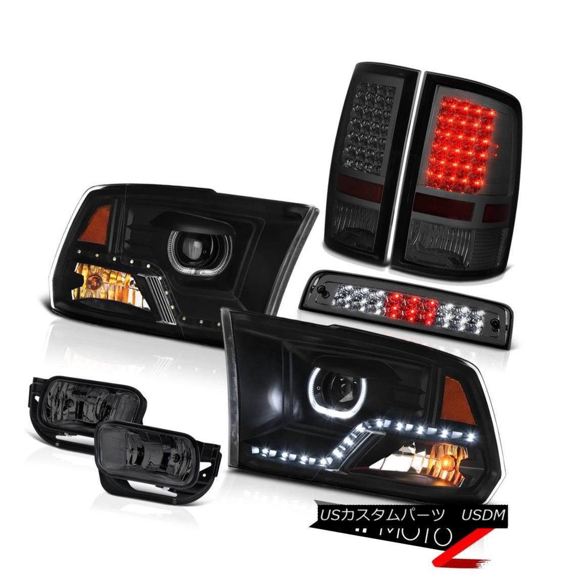 テールライト 09-13 Dodge RAM 1500 Truck Black HeadLight Driving Lamp Brake Tail Lamp Assembly 09-13ダッジRAM1500トラックブラックヘッドランプ駆動ランプブレーキテールランプアセンブリ