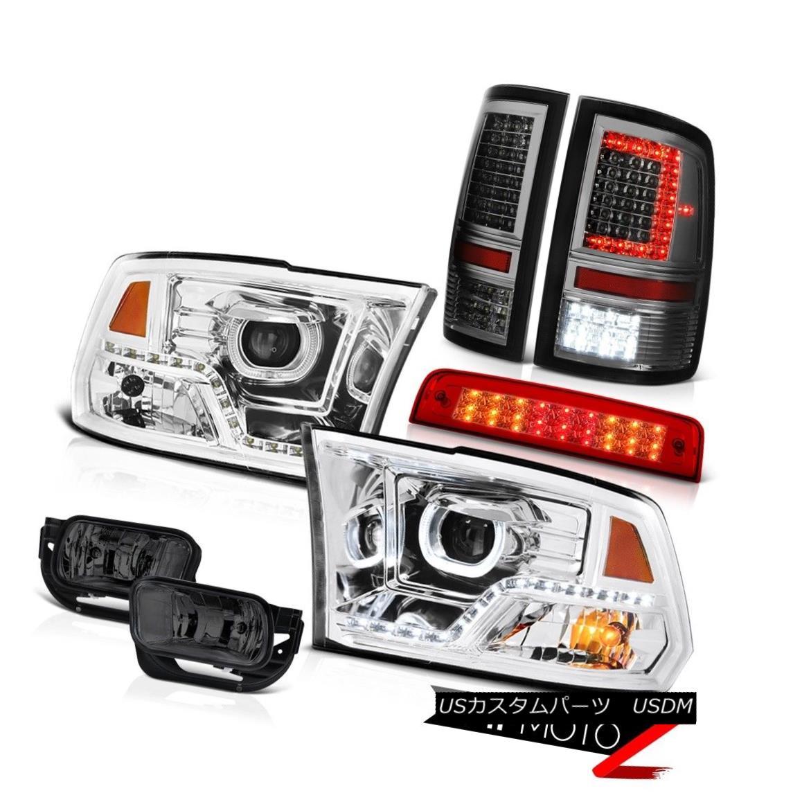 テールライト 09-11 12 13 Dodge RAM 1500 Dark Smoke Tail Light Headlamps Brake Fog Lights SET 09-11 12 13ダッジRAM 1500ダークスモークテールライトヘッドランプブレーキフォグライトSET