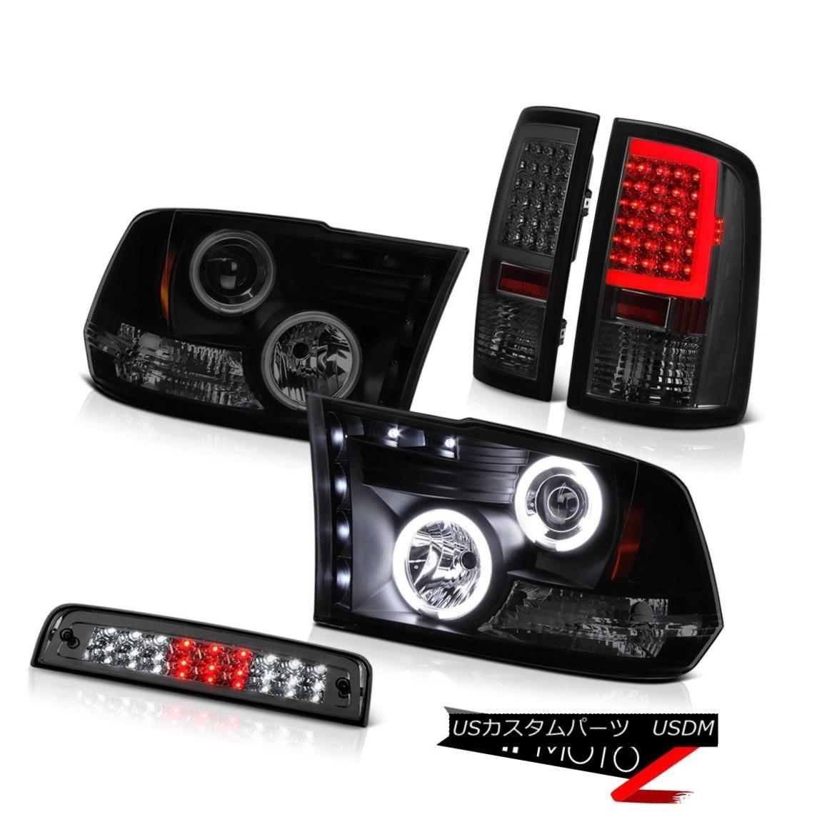 テールライト 09 10 11-18 Dodge RAM 3500 Dark Smoke Neon Tube Tail Light 3rd Brake Headlights 09 10 11-18ダッジRAM 3500ダークスモークネオンチューブテールライト第3ブレーキヘッドライト