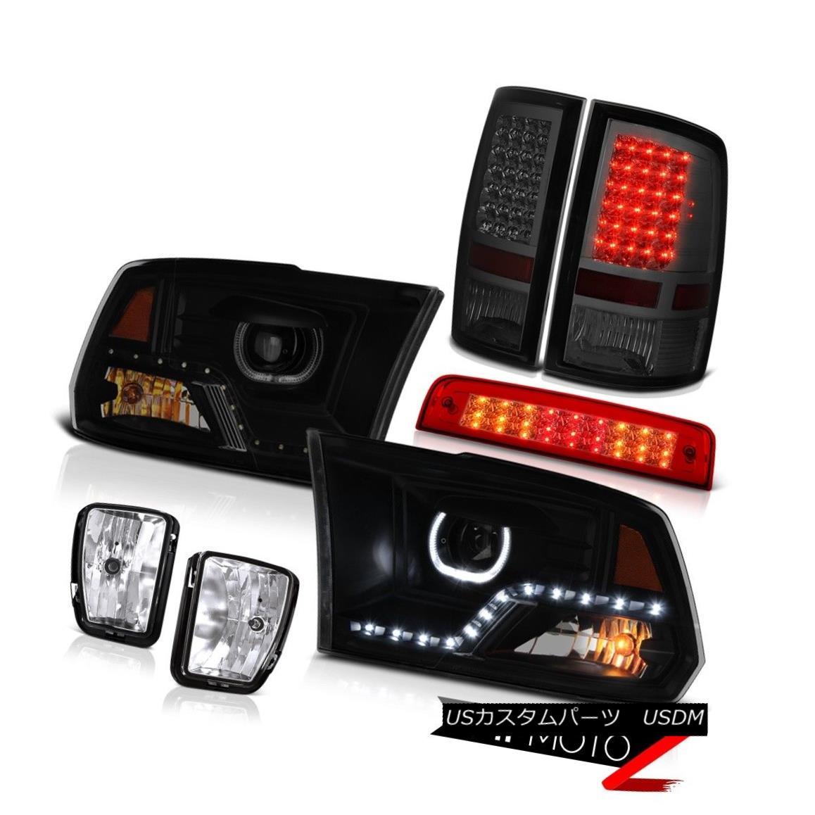 テールライト 13-18 Dodge RAM 1500 Head Lamp Rosso Red Brake Light Fog Tail Lamp Assembly PAIR 13-18ダッジRAM 1500ヘッドランプロッソレッドブレーキライトフォグテールランプアセンブリPAIR