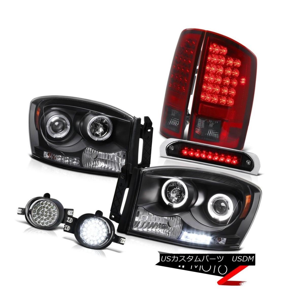 テールライト 2006 Ram Magnum V8 2X Angel Eye Headlights Dark RED LED Tail Lights L.E.D DRL 2006ラムマグナムV8 2Xエンジェルアイヘッドライト暗赤色LEDテールライトL.E.D DRL