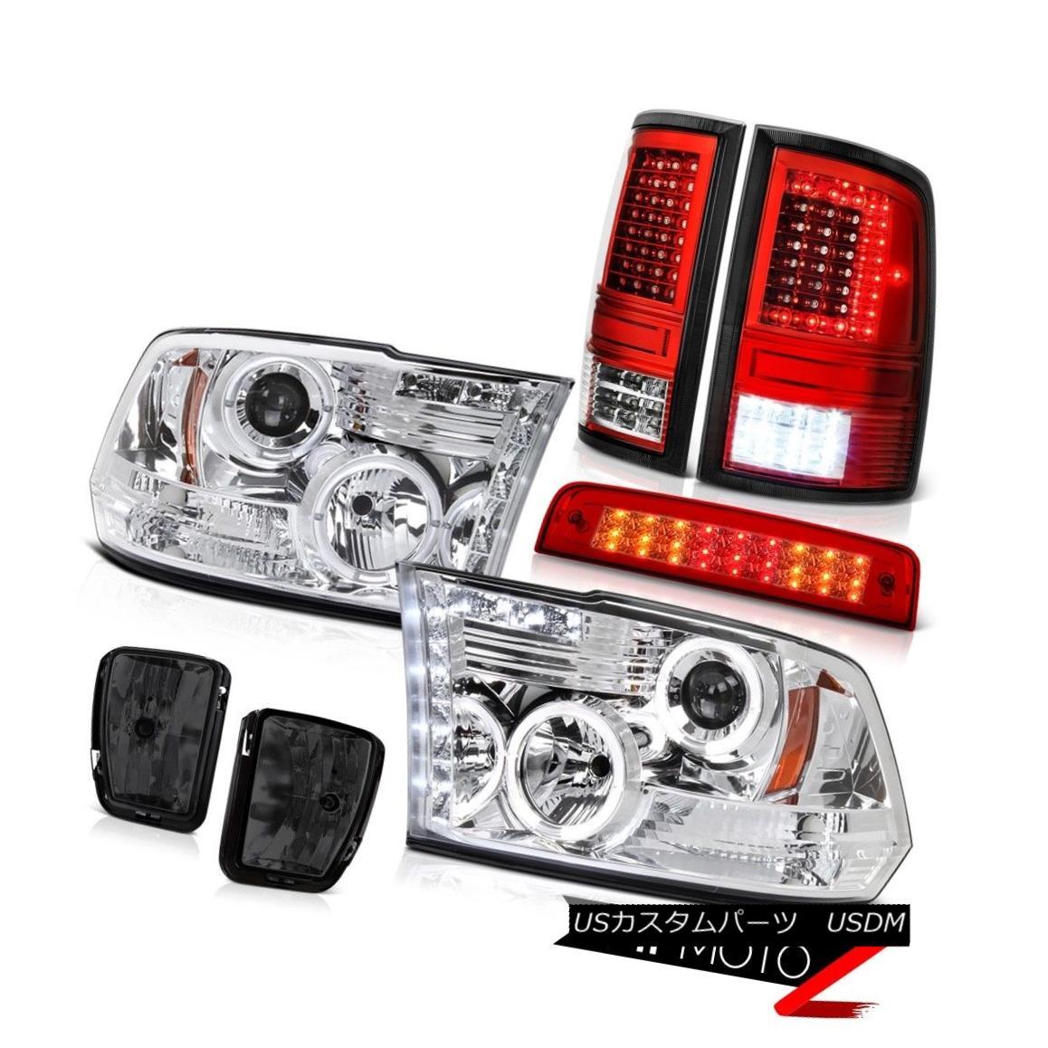 テールライト 2013-2018 RAM 1500 Tail Lamp Brake Light Dark Smoke Fog Chrome Head Lamp PAIR 2013-2018 RAM 1500テールランプブレーキライトダークスモークフォグクロームヘッドランプペア