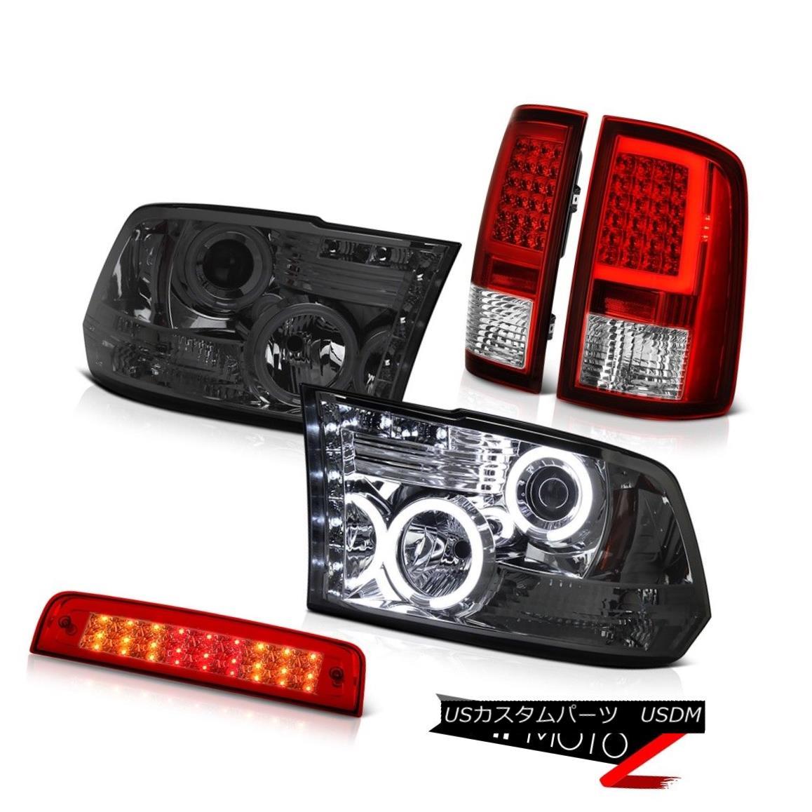 テールライト 2010-2018 Dodge RAM 1500 LED Tail Lights Brake Smoked CCFL Headlamps SET PAIR 2010-2018ダッジRAM 1500 LEDテールライトブレーキスモークCCFLヘッドランプSET PAIR