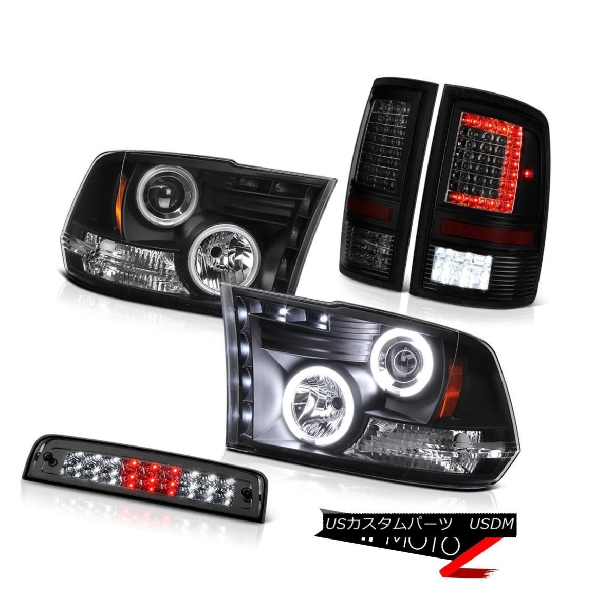 テールライト 09-18 Dodge RAM 1500 3500 Tail Light 3rd Brake Black Head Lamp Assembly SET PAIR 09-18ダッジRAM 1500 3500テールライト第3ブレーキブラックヘッドランプアセンブリSET PAIR