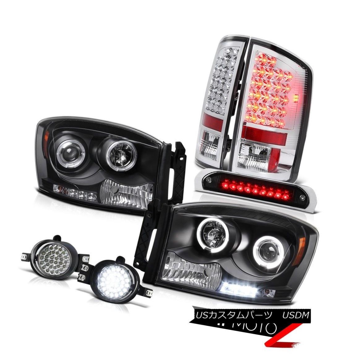 テールライト 06 Ram 3500 Black Headlights SMD Halo Euro LED Tail Lights Surface Fog 3rd Brake 06 Ram 3500ブラックヘッドライトSMD Halo Euro LEDテールライトサーフェスフォグ3rdブレーキ
