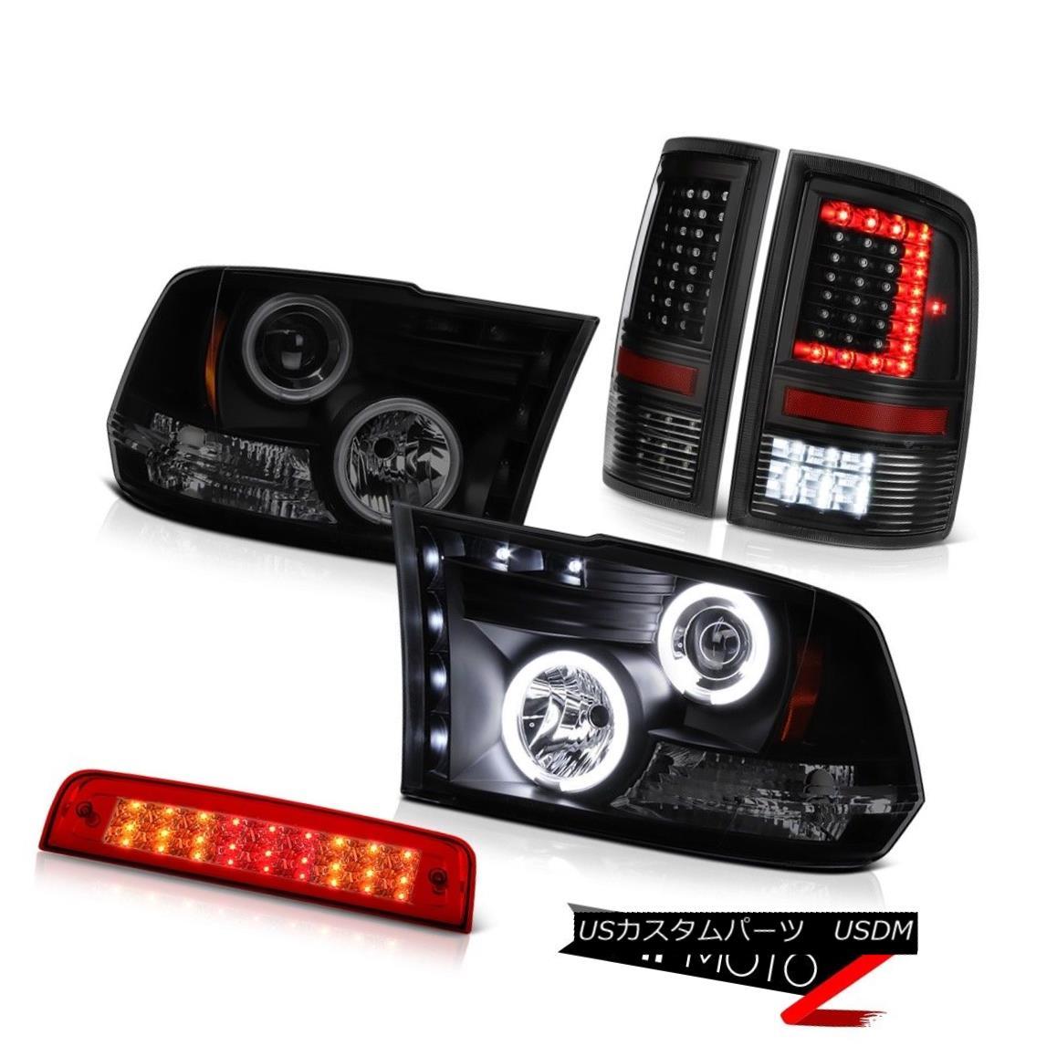 テールライト 09-16 17 18 Dodge RAM 3500 Black Tail Lights Rosso Red Third Brake Headlamps SET 09-16 17 18ダッジRAM 3500ブラックテールライトロッソレッド第3ブレーキヘッドランプSET