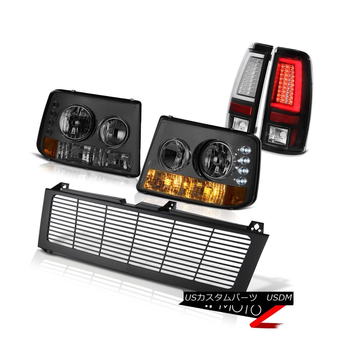 テールライト 99-02 Silverado 4WD Taillights Billet Style Grille Smokey OLED Prism
