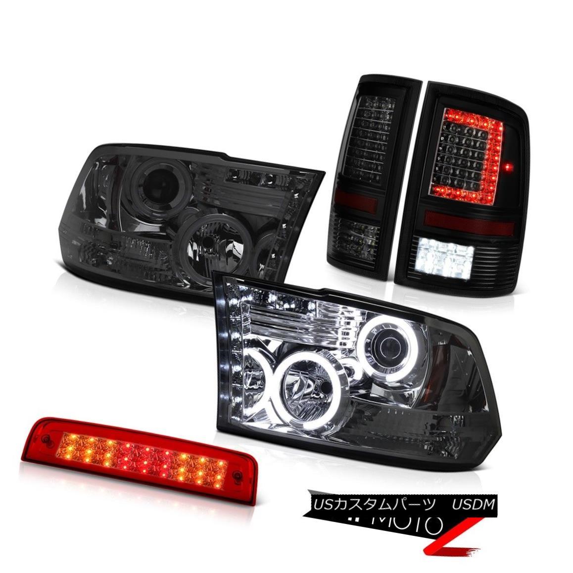 テールライト 09-14 15-18 Dodge RAM 1500 Tail Light 3rd Brake Smokey Projector Head Light SET 09-14 15-18 Dodge RAM 1500テールライト3rdブレーキスモーキープロジェクターヘッドライトSET