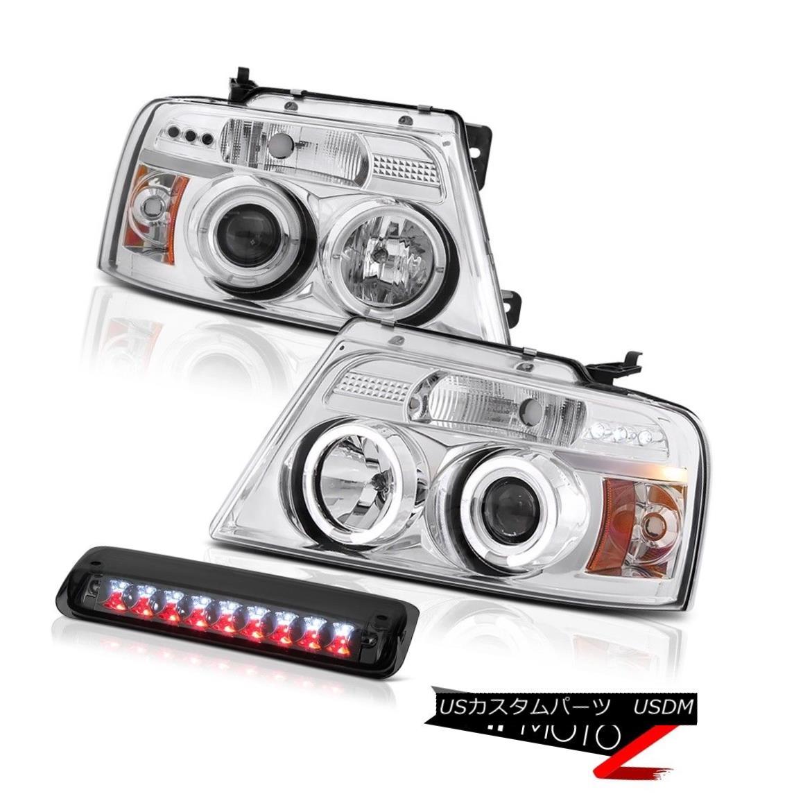テールライト 04 05 06 07 08 Ford F150 XL 3RD Brake Light Euro Clear Headlights LED Halo Rim 04 05 06 07 08フォードF150 XL 3RDブレーキライトユーロクリアヘッドライトLEDハローリム