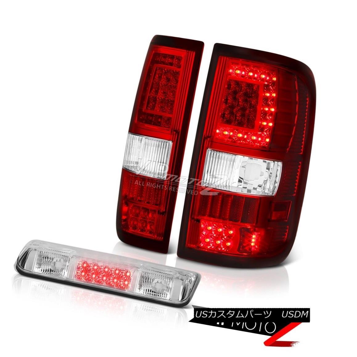 テールライト 04-08 Ford F150 Wine Red Neon Tube Tail Lamps Clear Chrome 3Rd Brake Pair LH+RH 04-08 Ford F150ワインレッドネオンチューブテールランプクリアクローム3RdブレーキペアLH + RH