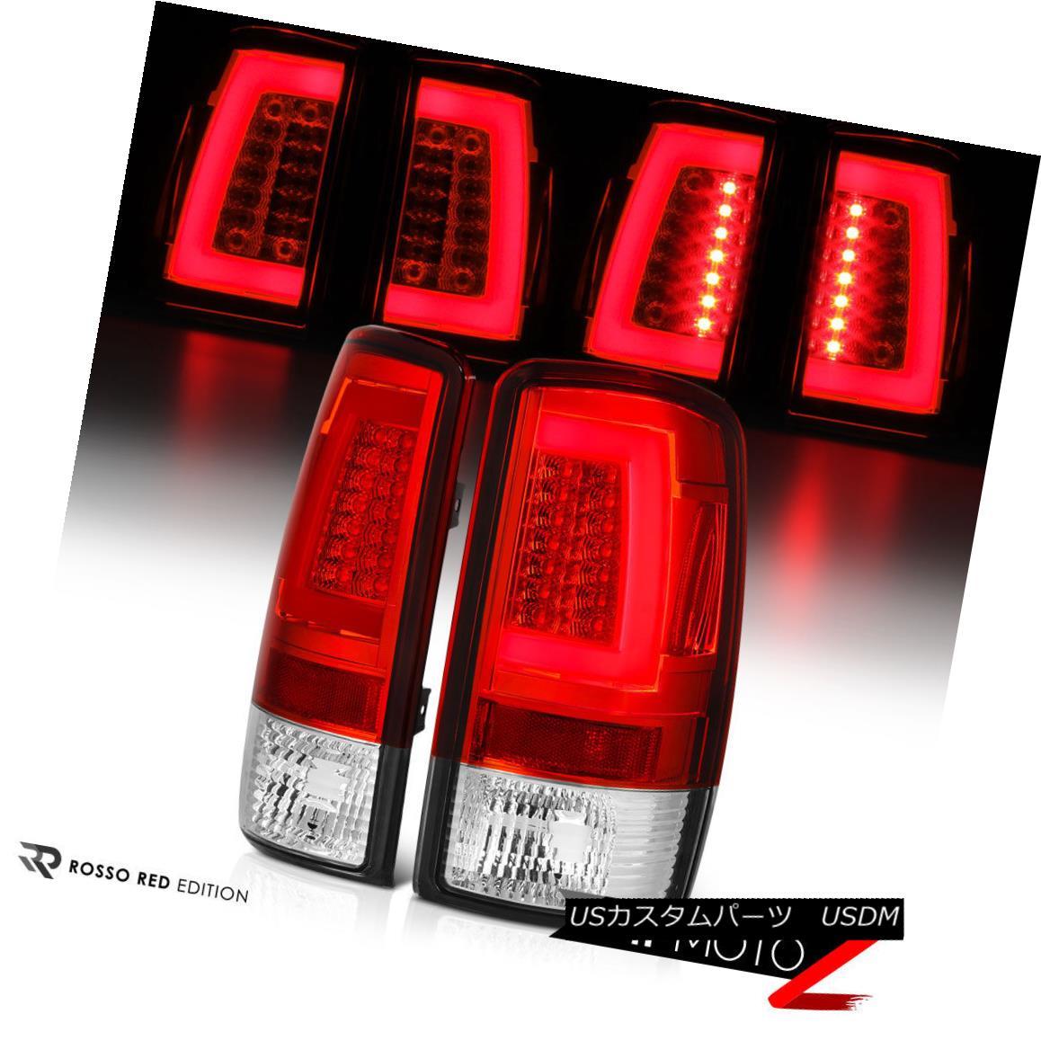 テールライト 00-06 Yukon/Tahoe Chrome Housing Red Lens LED Bar Brake Signal Lamp Tail Light 00-06ユーコン/タホクロームハウジングレッドレンズLEDバーブレーキ信号ランプテールライト