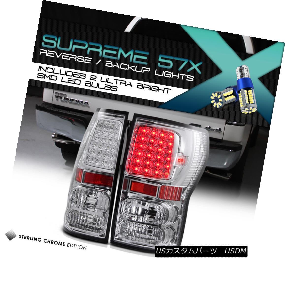 テールライト Full SMD Backup Toyota Tundra TRD Pickup 07-13 Chrome LED Tail Lights Assembly フルSMDバックアップトヨタトンドラTRDピックアップ07-13クロムLEDテールライトアセンブリ