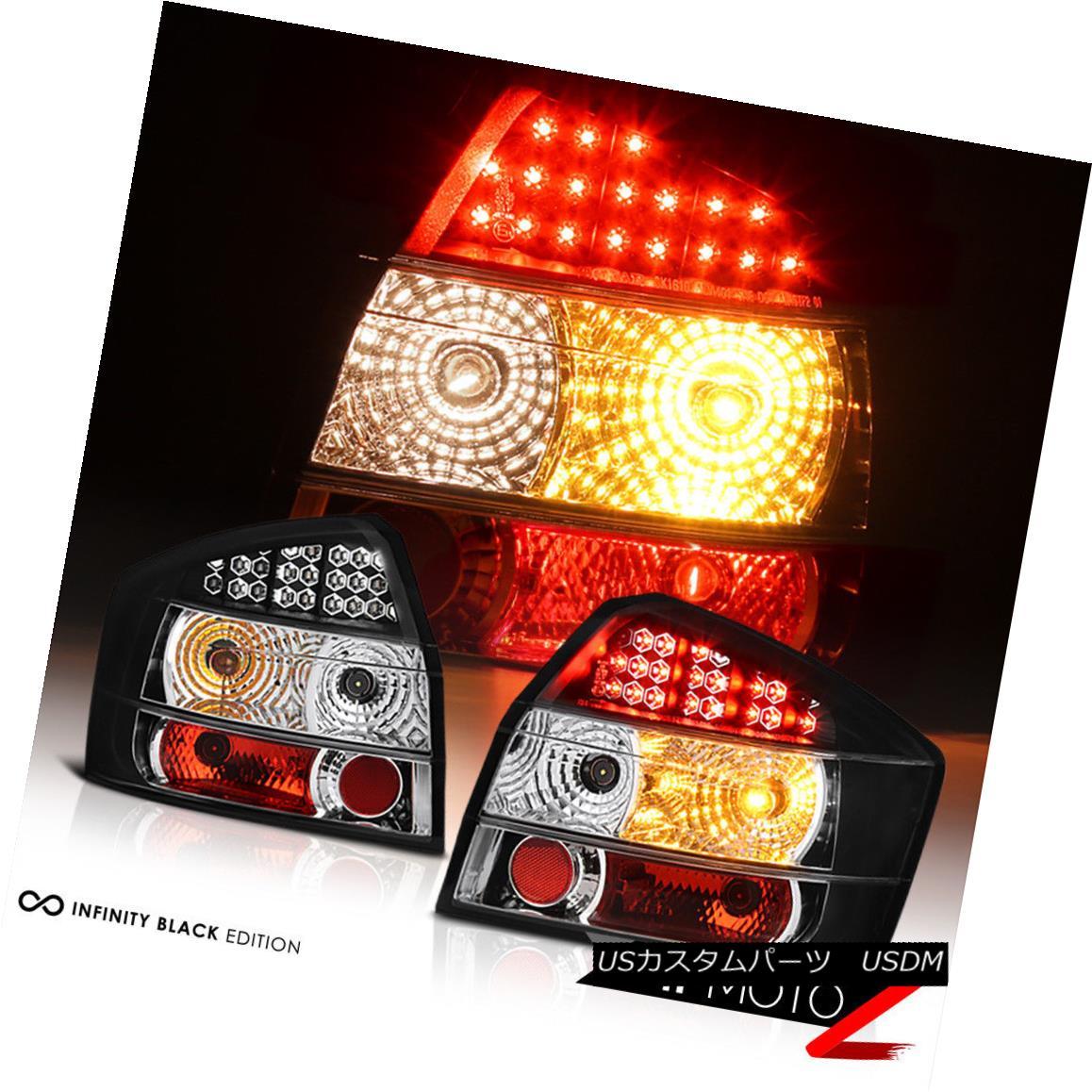 テールライト 02-05 A4 S4 Audi 4DR LH RH LED Tail Lights Black Rear Lamps Brake Pair Sedan 02-05 A4 S4アウディ4DR LH RHテールランプブラックリアライトブレーキペアセダン
