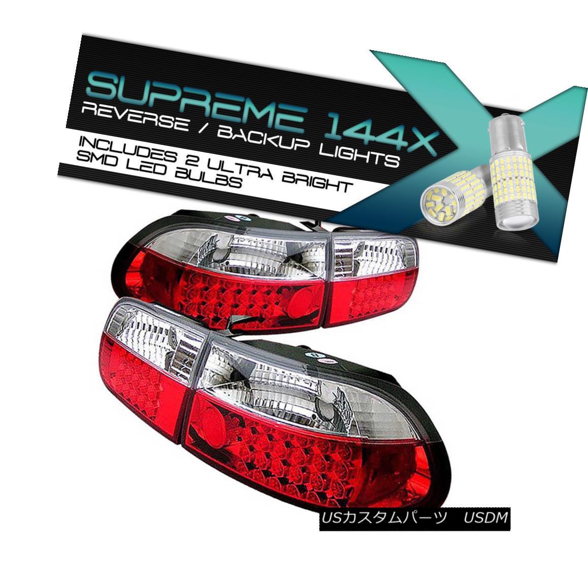テールライト FULL SMD BACKUP JDM CIVIC LED 4PCS Tail Lights 92-95 Hatchback RED+CLEAR Bright フルSMDバックアップJDM CIVIC LED 4PCSテールライト92-95ハッチバックRED +クリア明るい